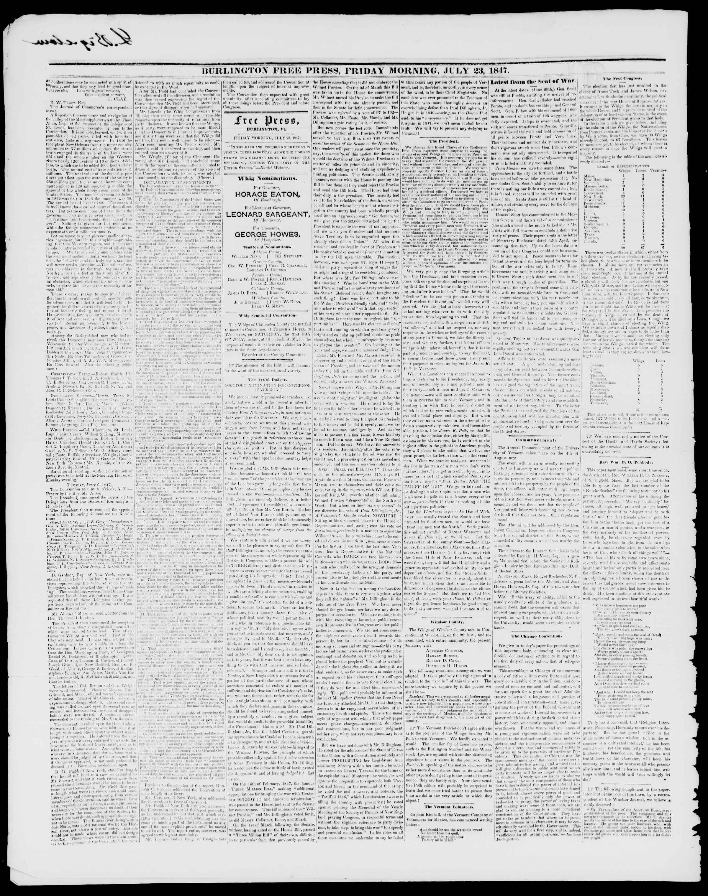 Newspaper of Burlington Free Press dated July 23, 1847 Page 2
