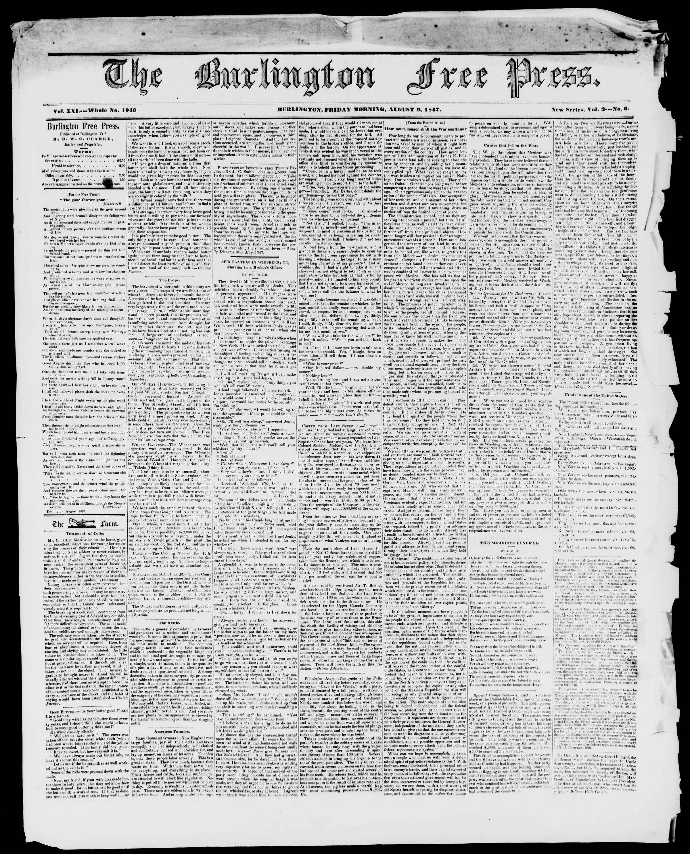Newspaper of Burlington Free Press dated August 6, 1847 Page 1