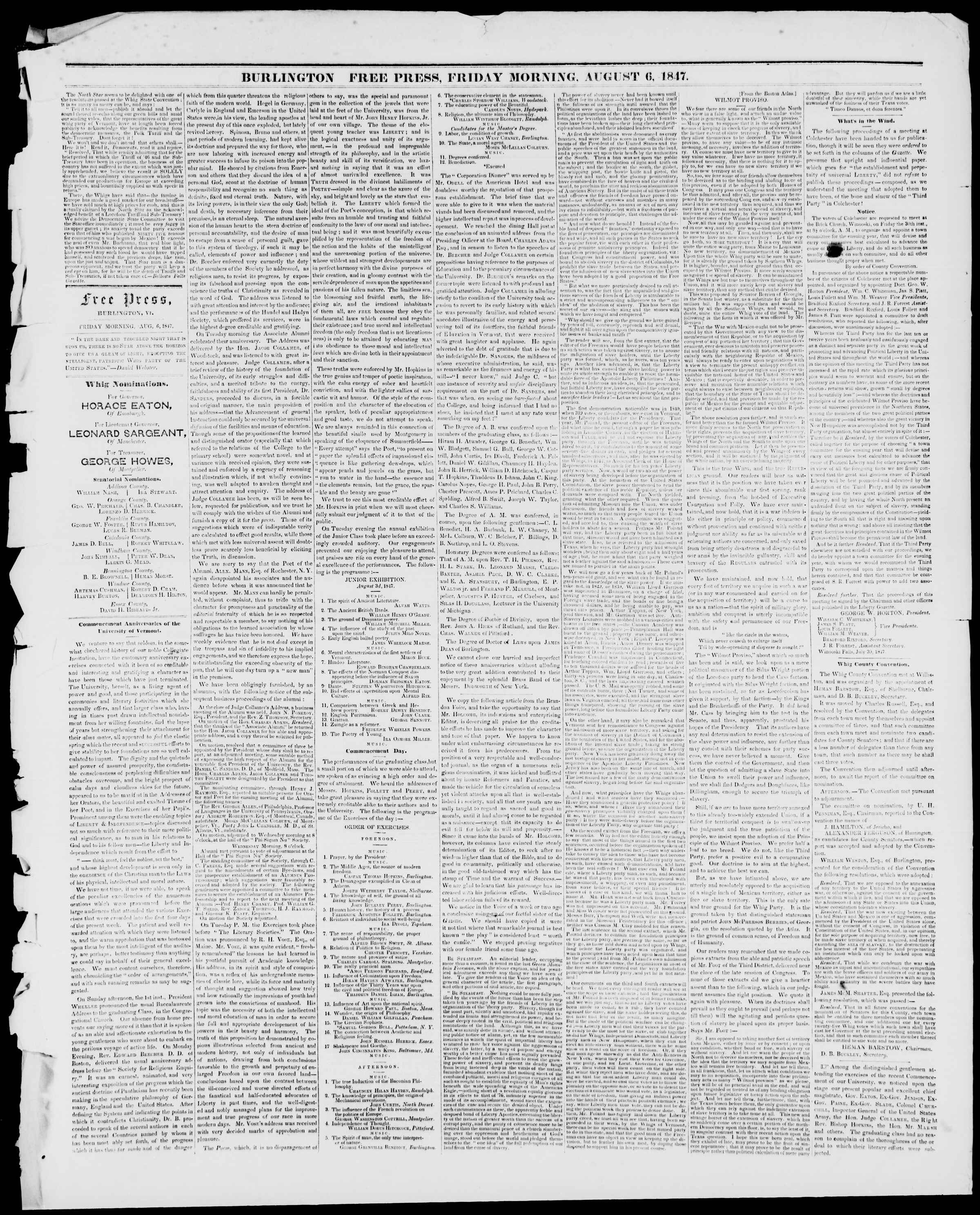 Newspaper of Burlington Free Press dated August 6, 1847 Page 2