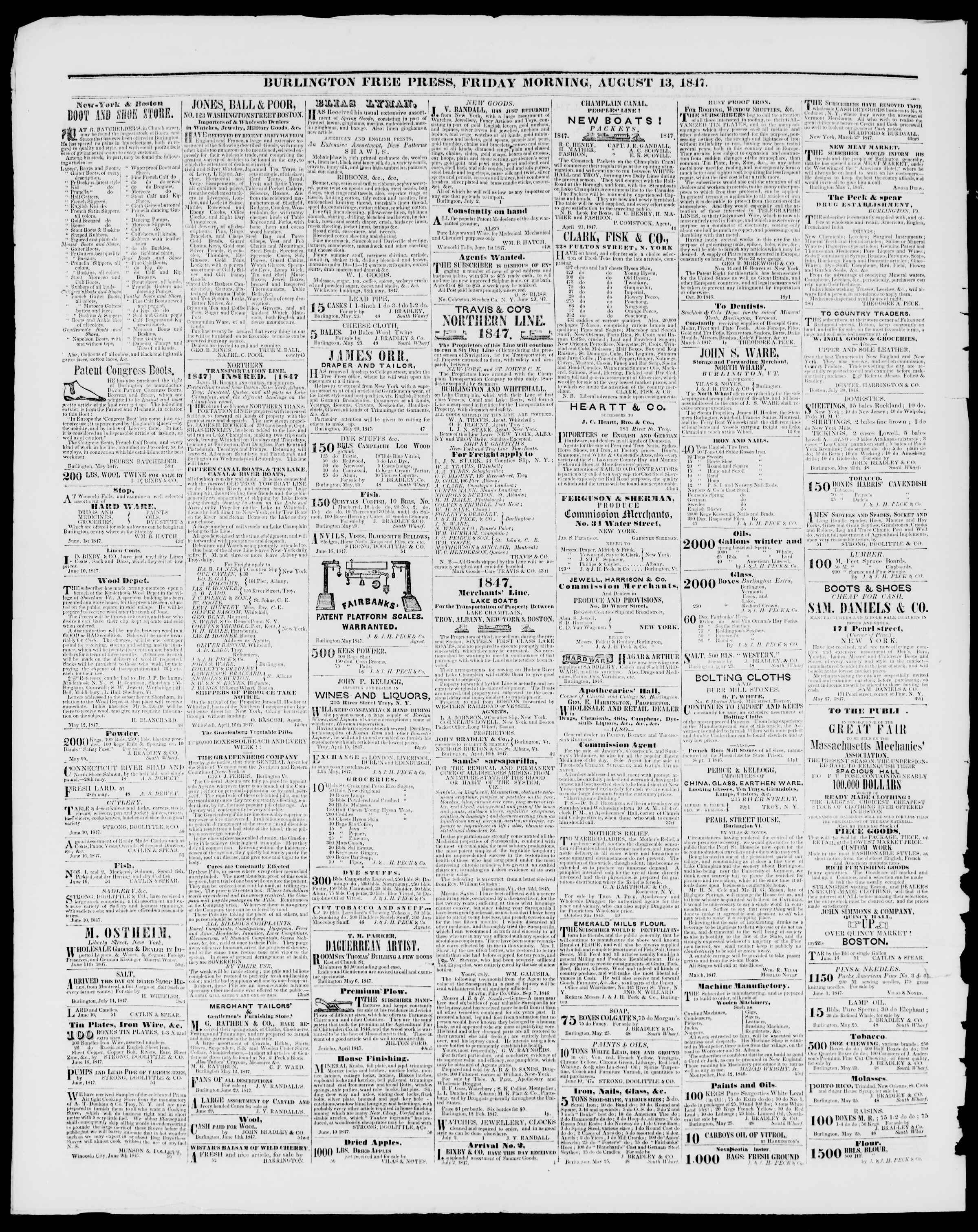 Newspaper of Burlington Free Press dated August 13, 1847 Page 4