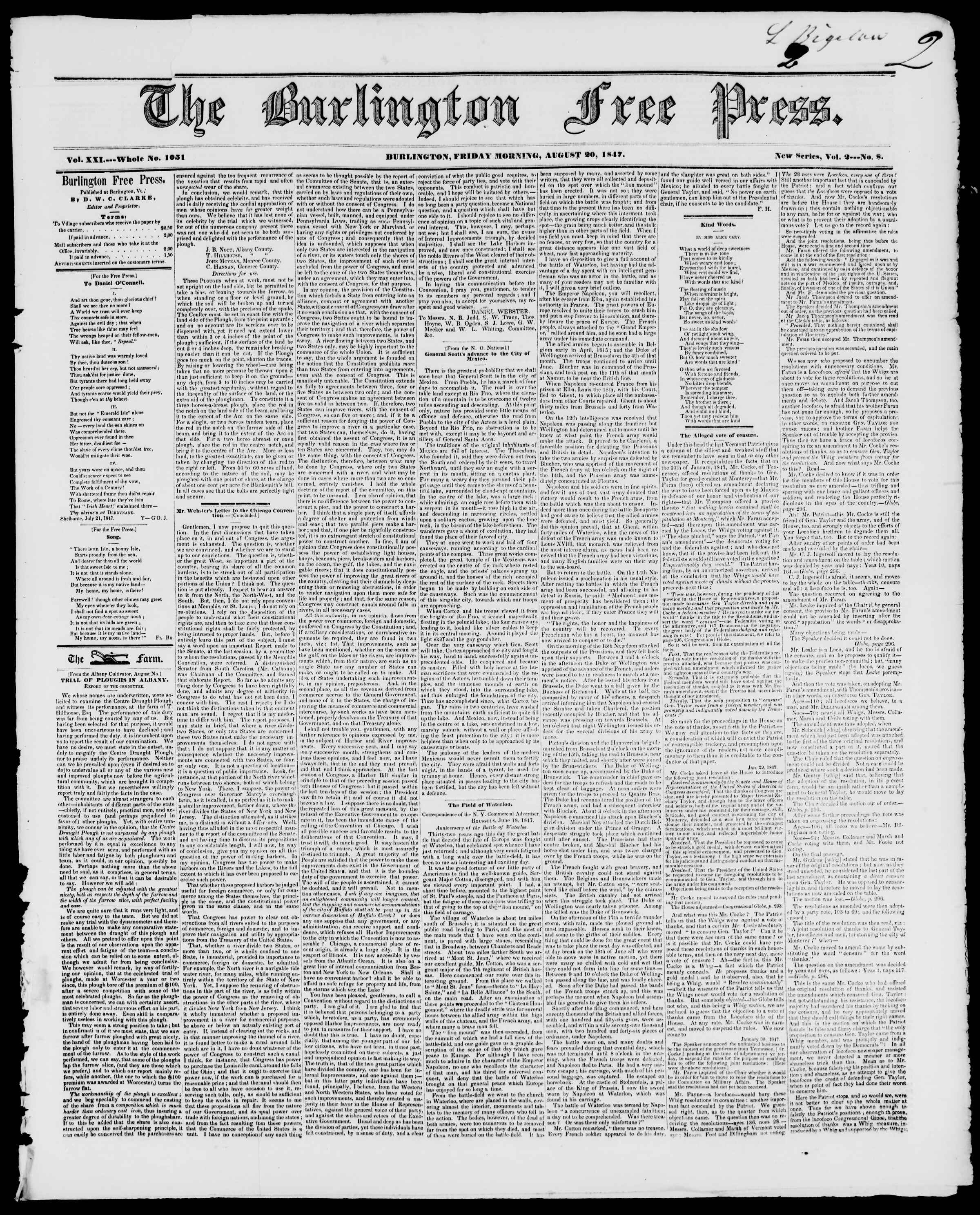 Newspaper of Burlington Free Press dated August 20, 1847 Page 1