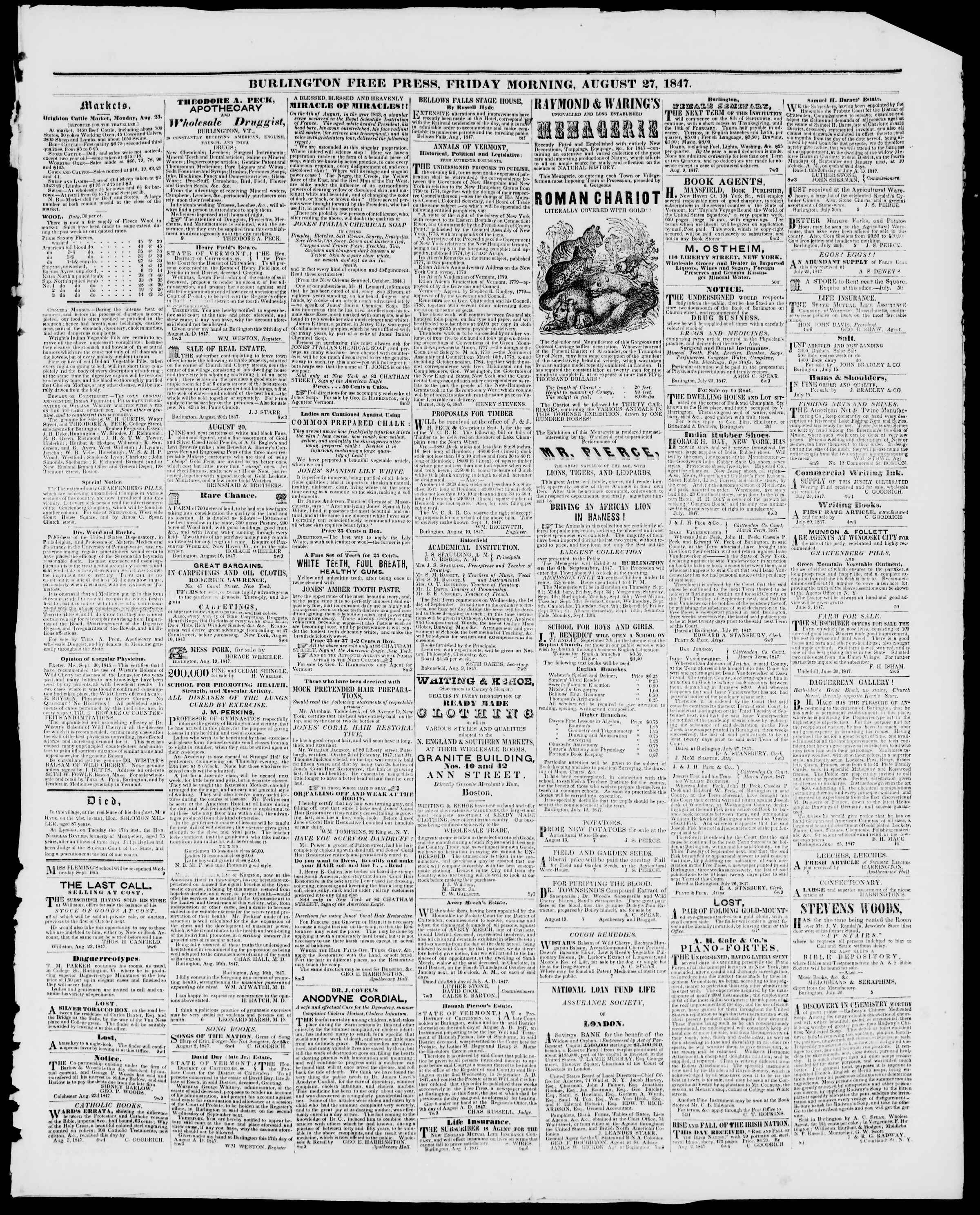 Newspaper of Burlington Free Press dated August 27, 1847 Page 3