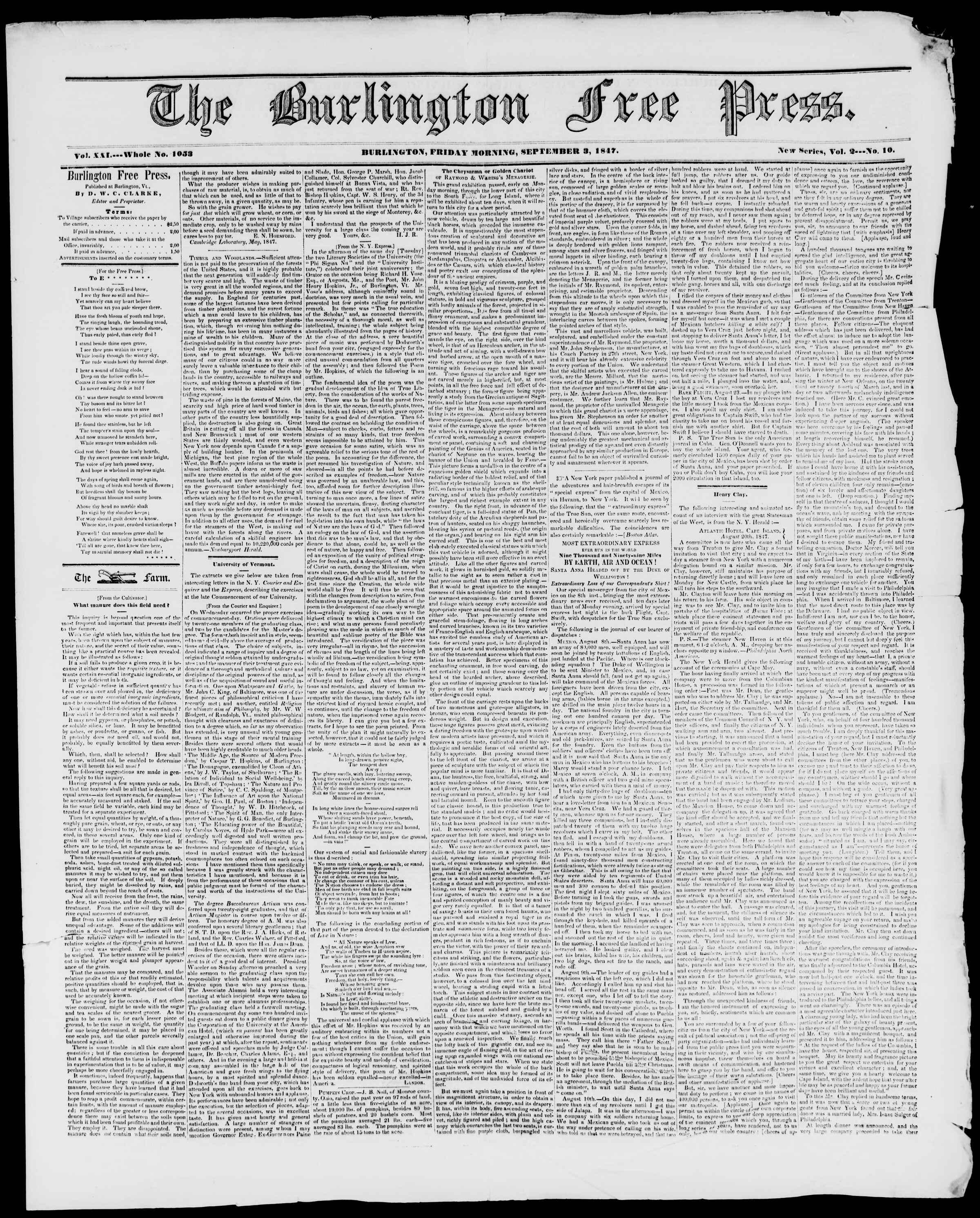 Newspaper of Burlington Free Press dated September 3, 1847 Page 1