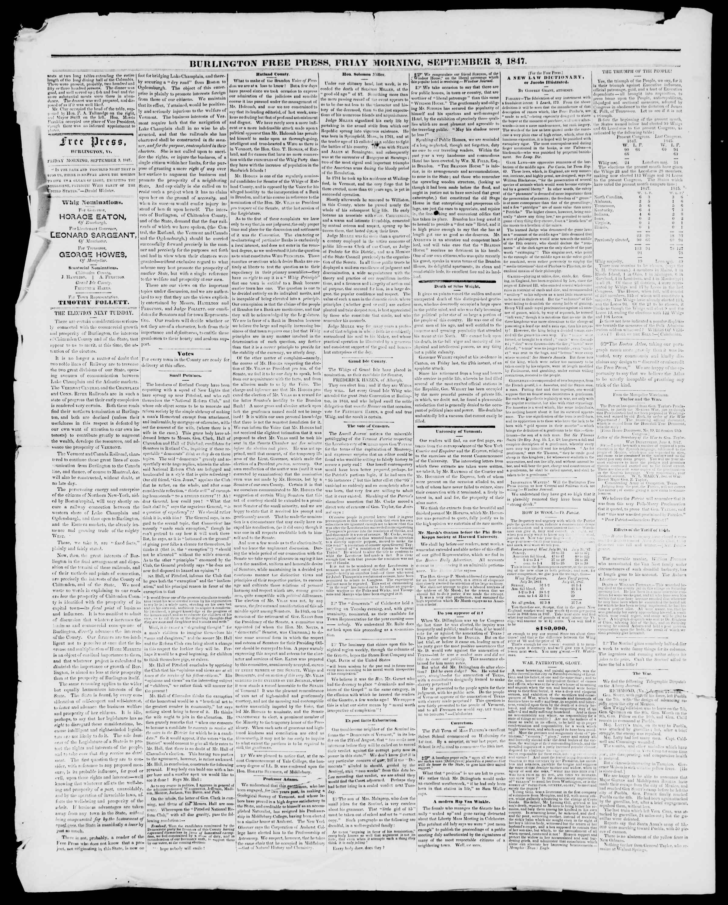 Newspaper of Burlington Free Press dated September 3, 1847 Page 2