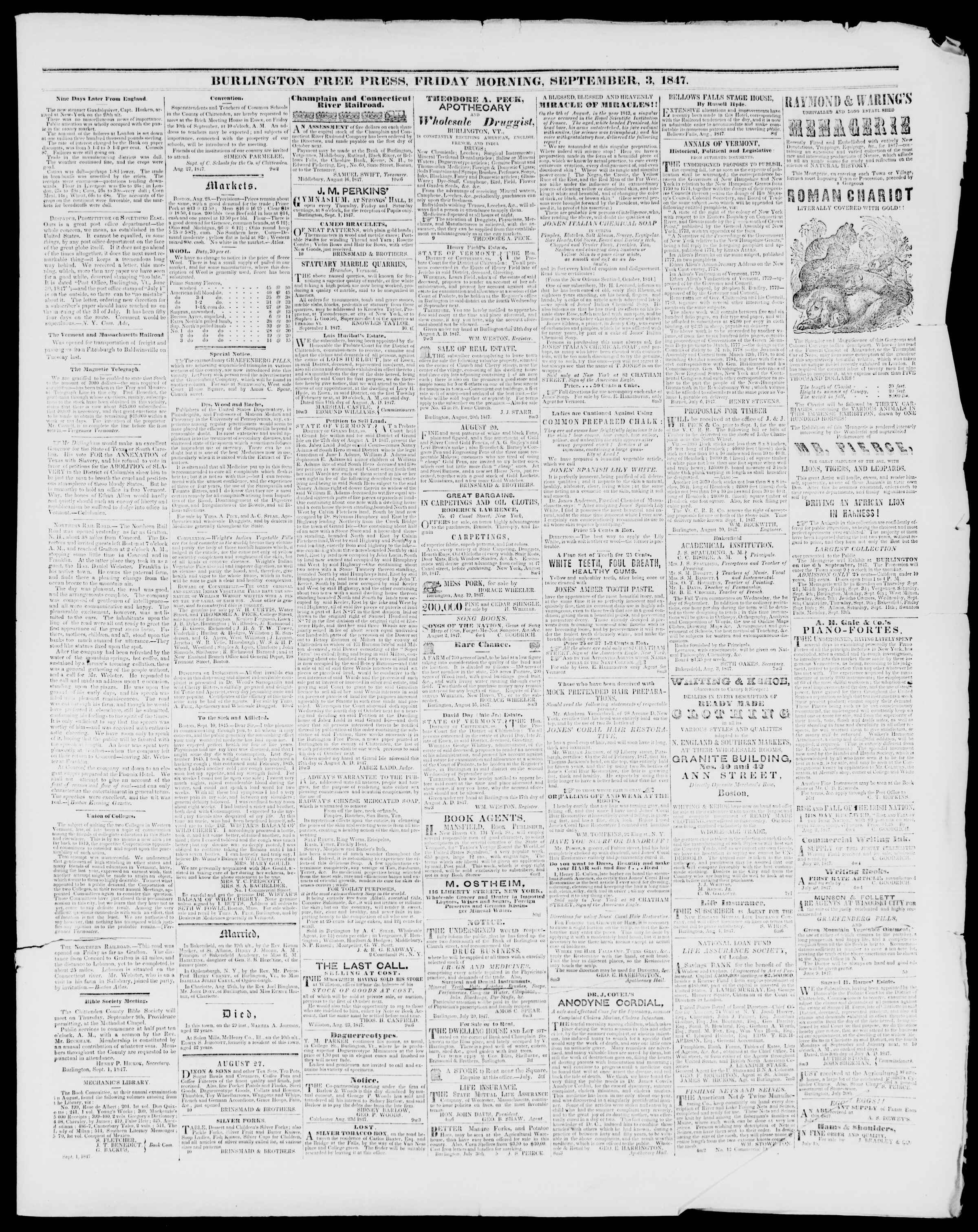 Newspaper of Burlington Free Press dated September 3, 1847 Page 3