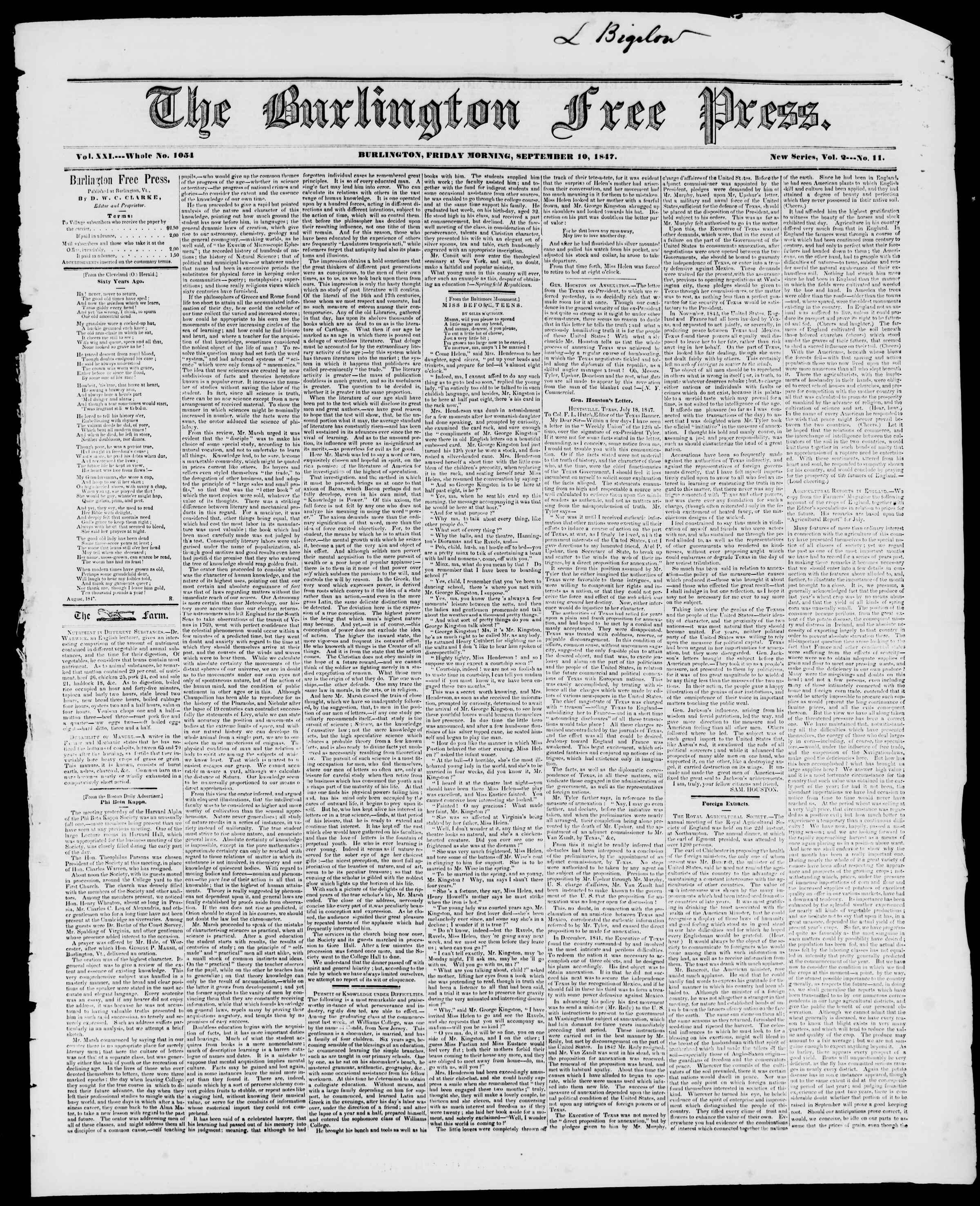 Newspaper of Burlington Free Press dated September 10, 1847 Page 1