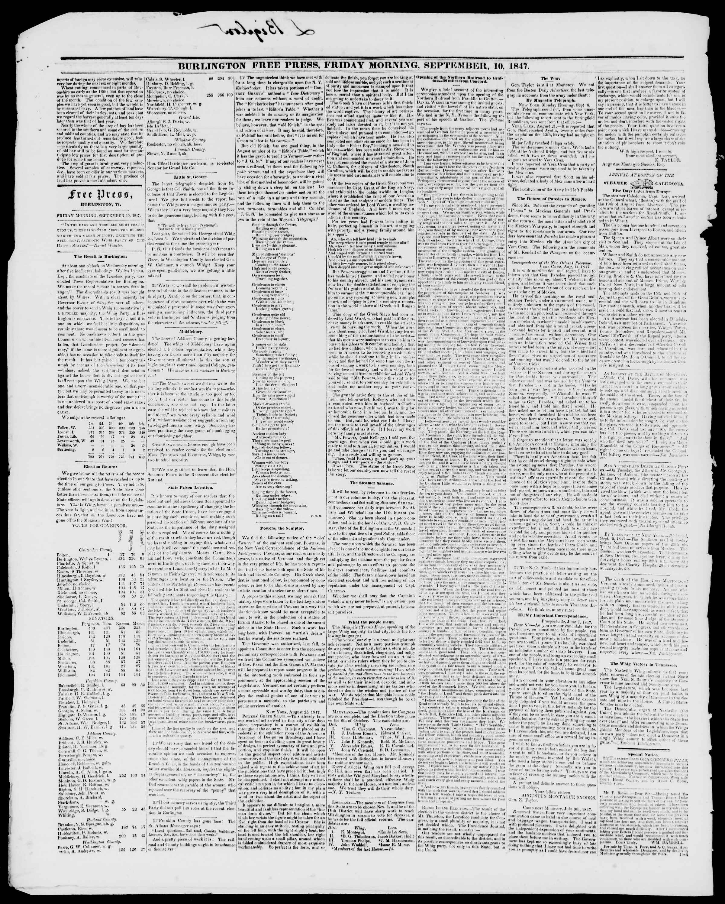 Newspaper of Burlington Free Press dated September 10, 1847 Page 2