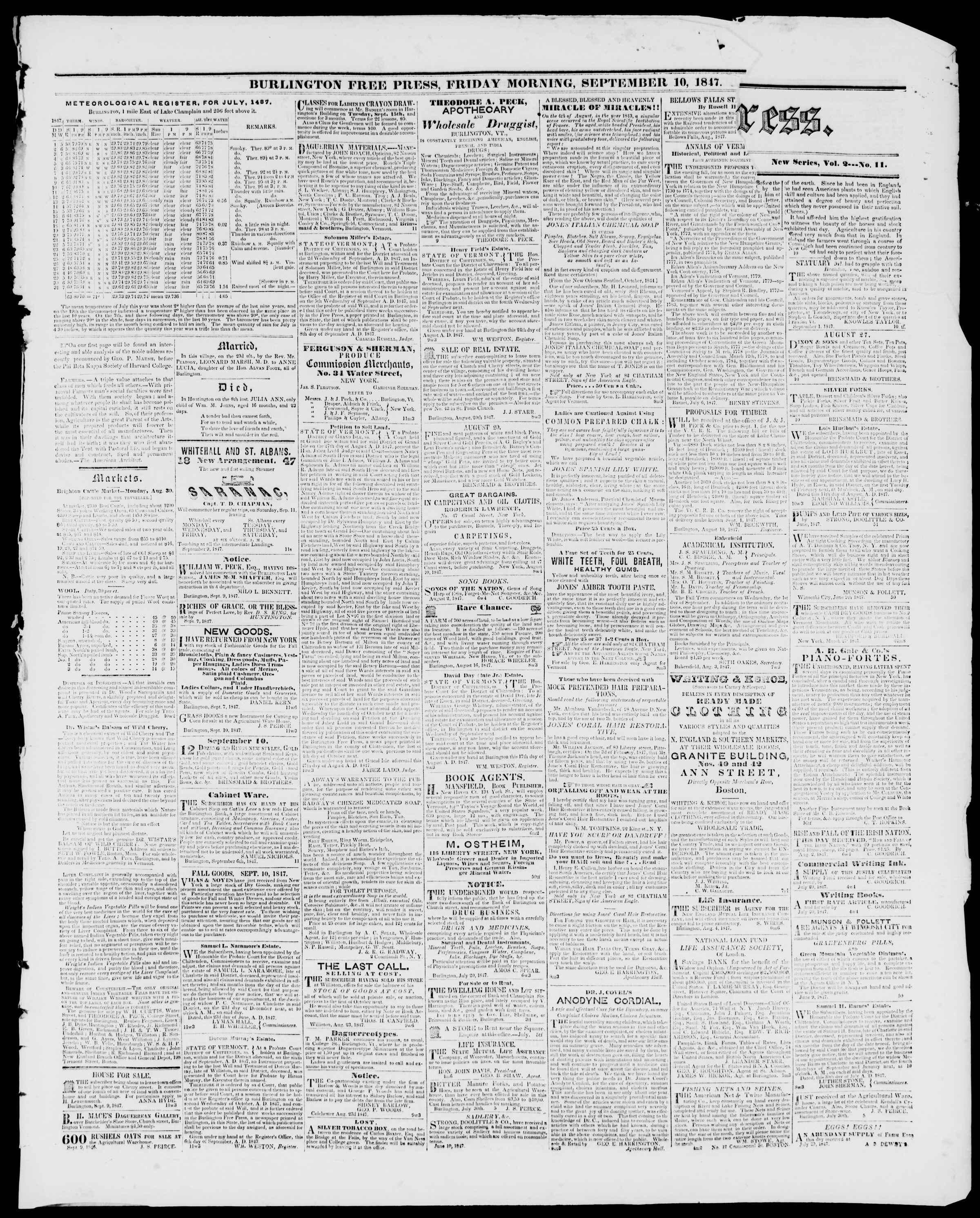Newspaper of Burlington Free Press dated September 10, 1847 Page 3