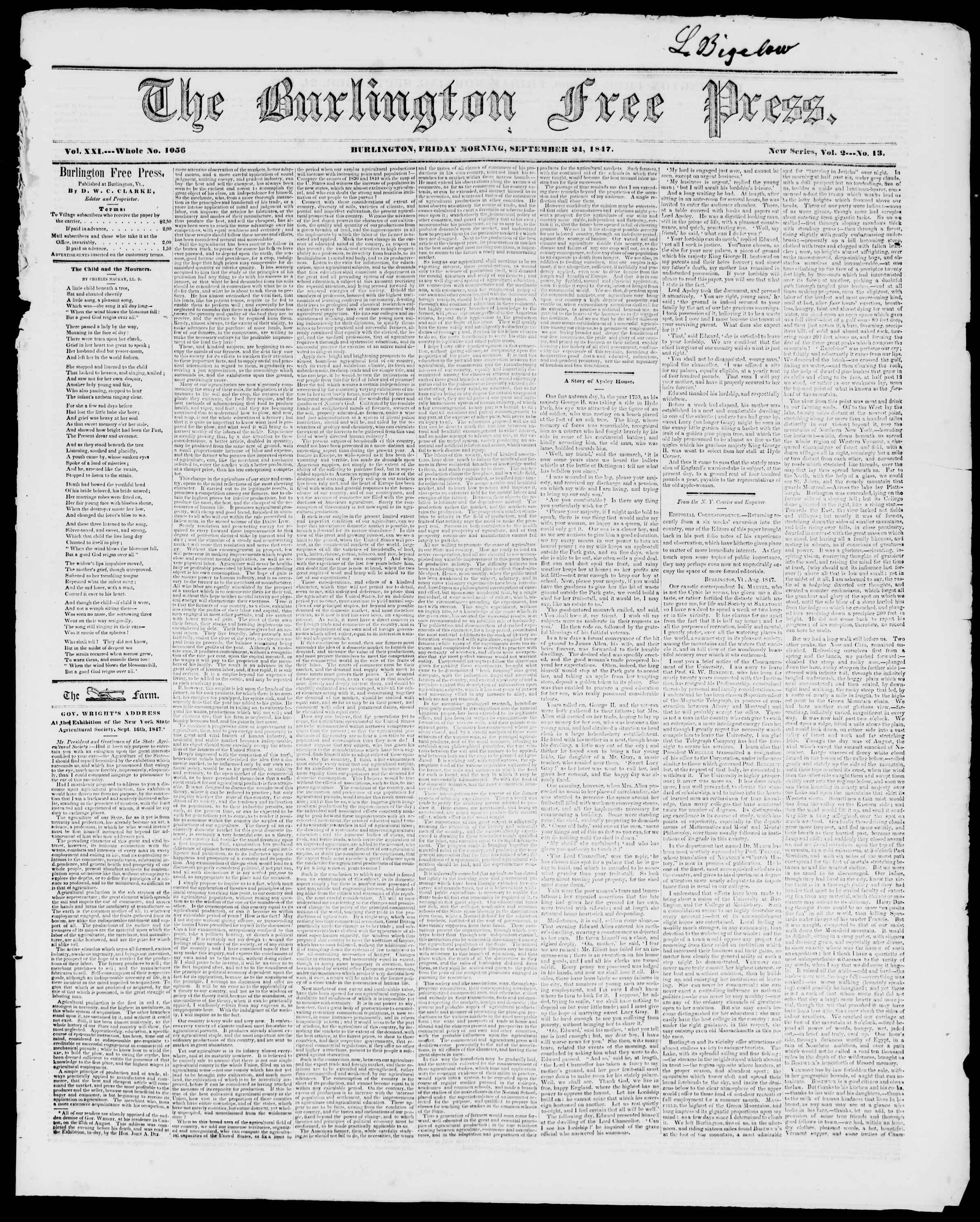 Newspaper of Burlington Free Press dated September 24, 1847 Page 1