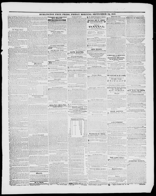 24 Eylül 1847 tarihli Burlington Free Press Gazetesi Sayfa 3
