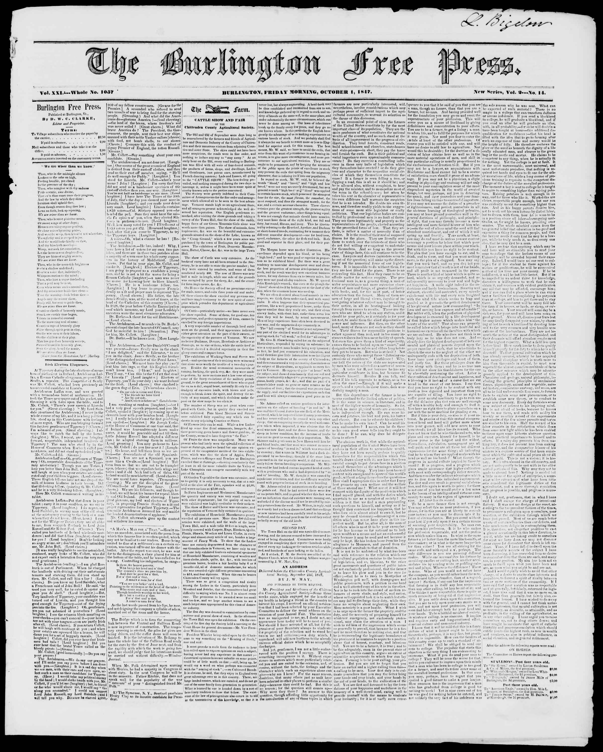 Newspaper of Burlington Free Press dated October 1, 1847 Page 1