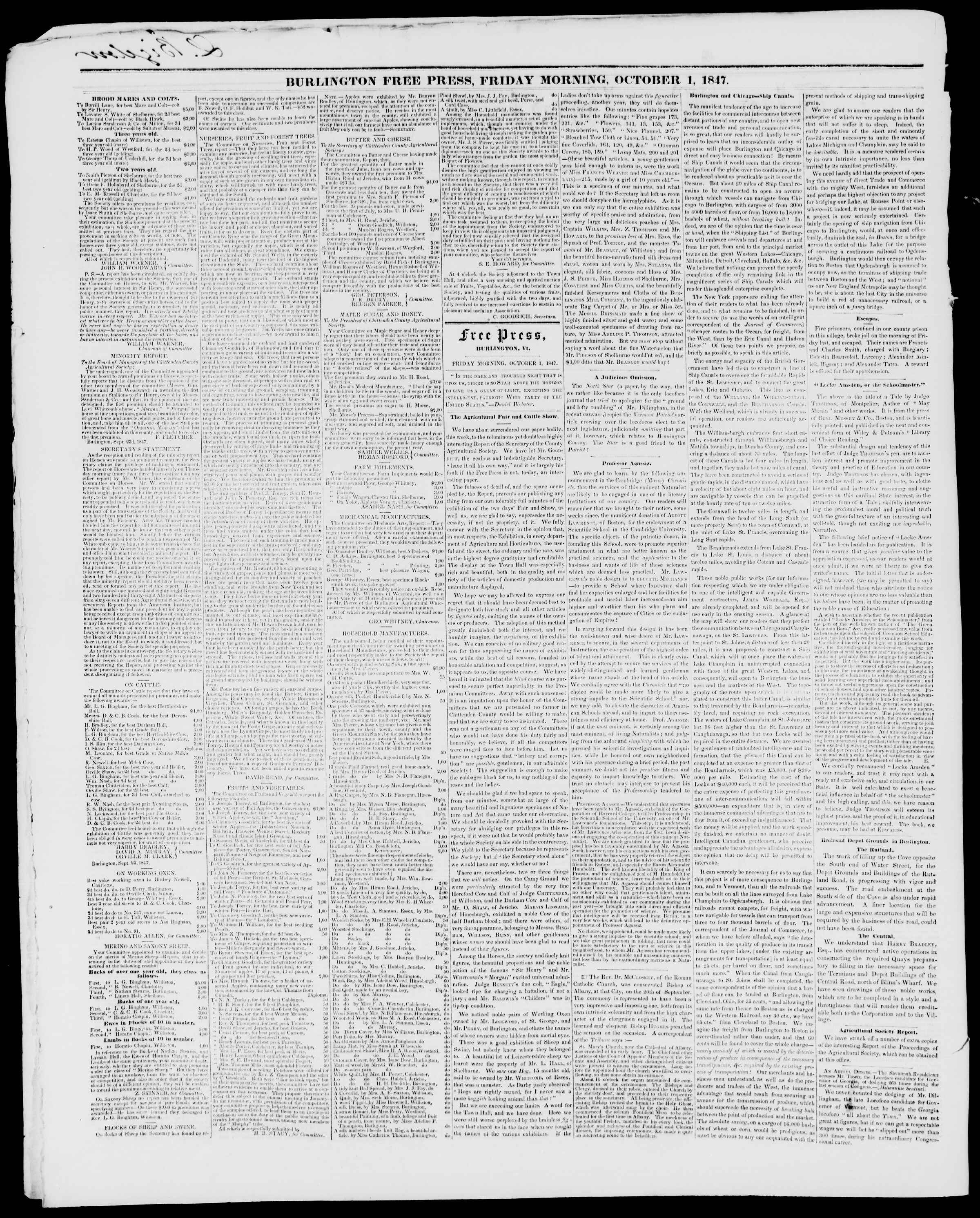 Newspaper of Burlington Free Press dated October 1, 1847 Page 2