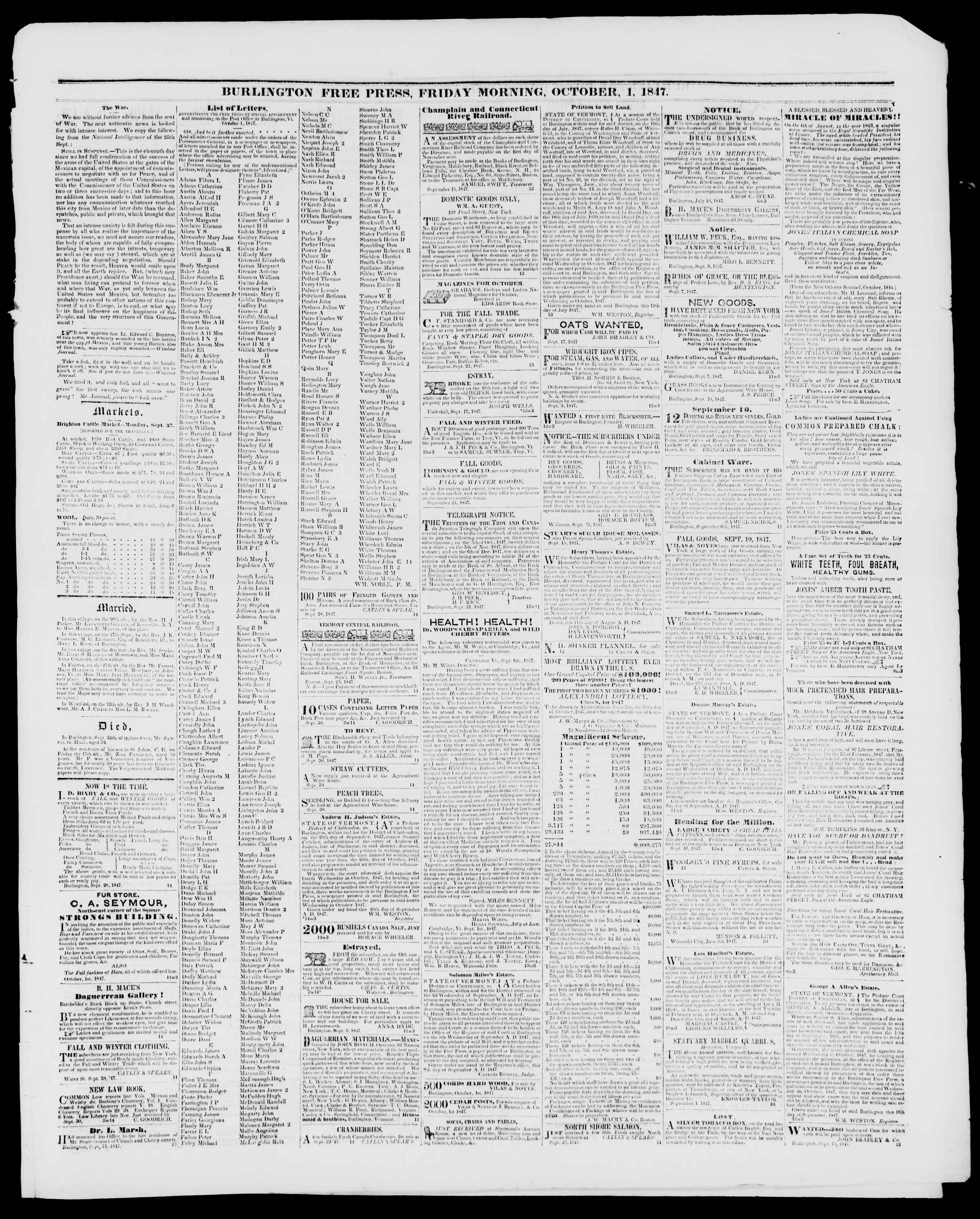 Newspaper of Burlington Free Press dated October 1, 1847 Page 3