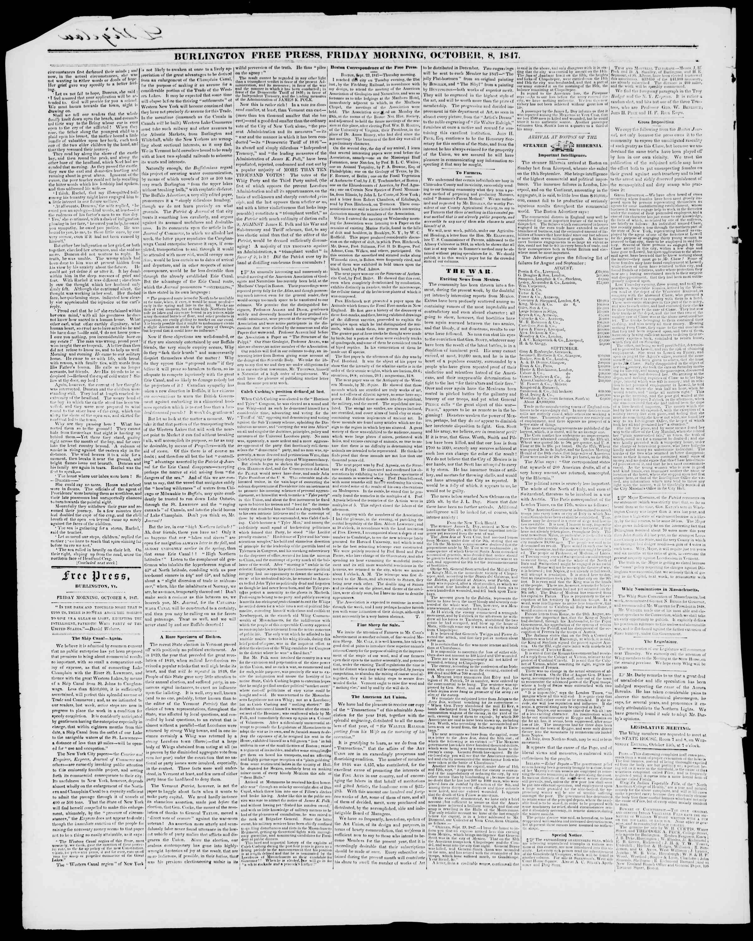Newspaper of Burlington Free Press dated October 8, 1847 Page 2