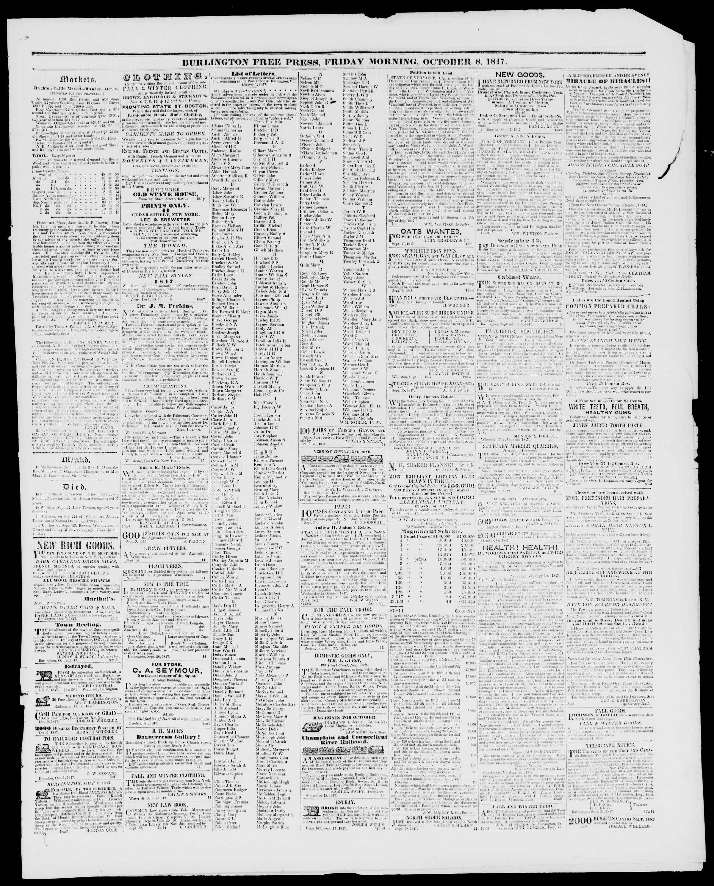 Newspaper of Burlington Free Press dated October 8, 1847 Page 3