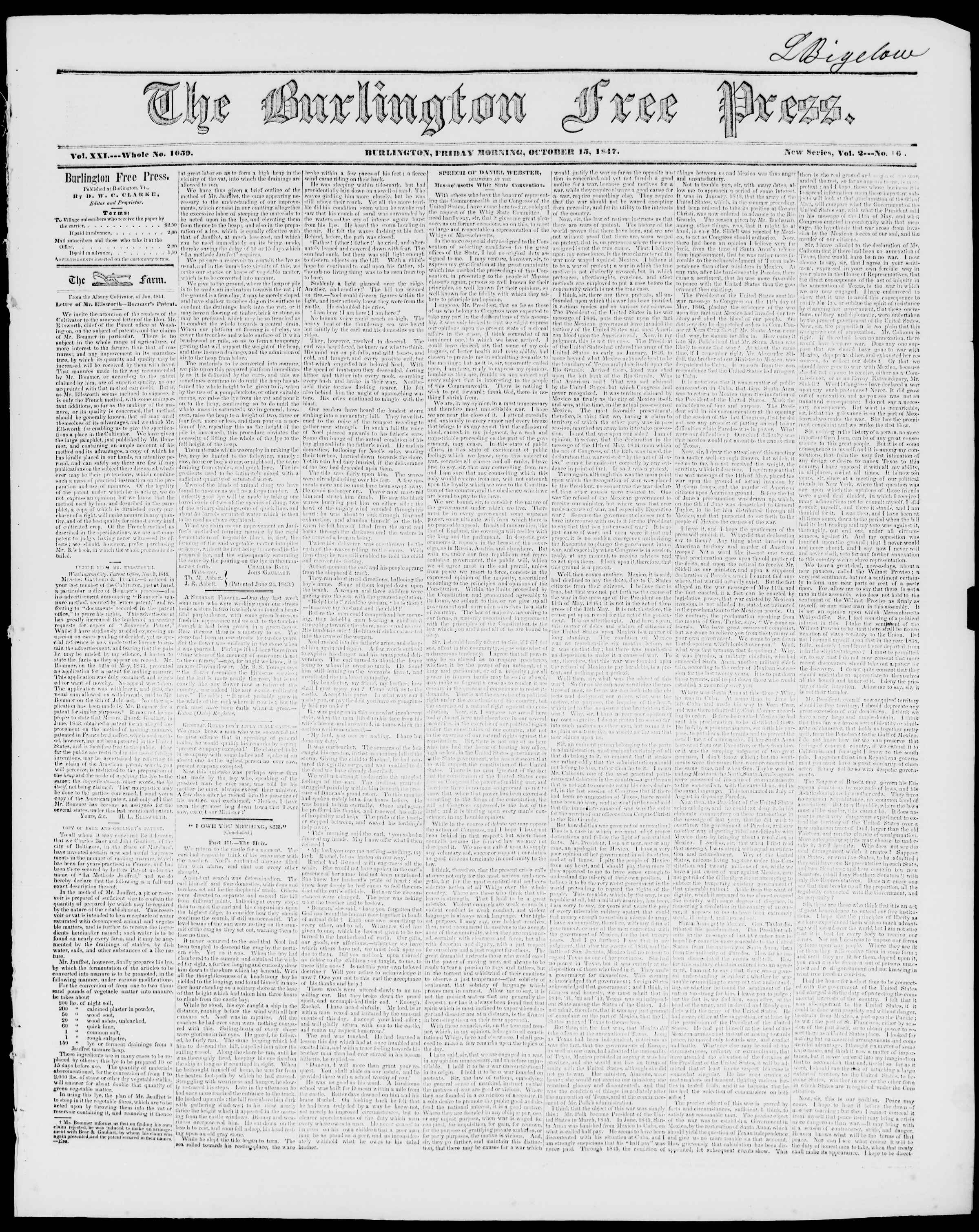 Newspaper of Burlington Free Press dated October 15, 1847 Page 1