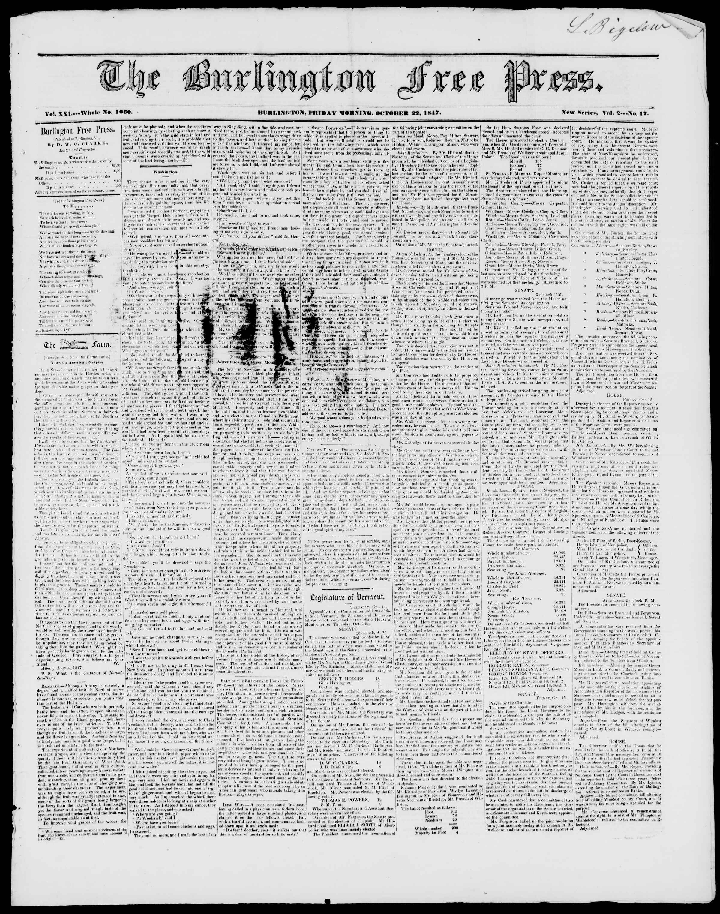 Newspaper of Burlington Free Press dated October 22, 1847 Page 1