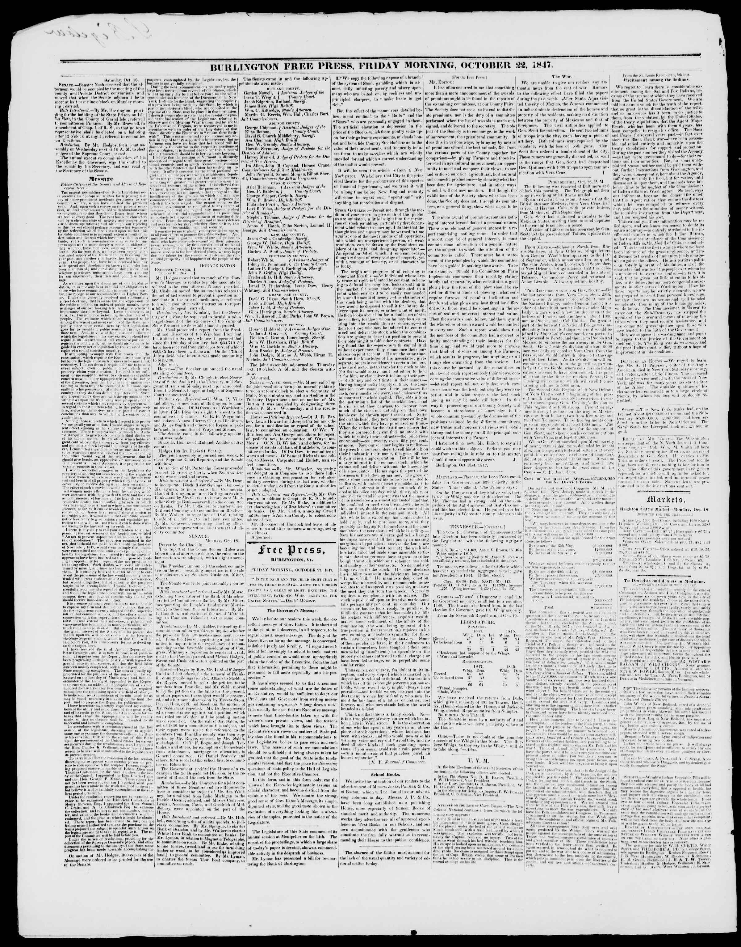 Newspaper of Burlington Free Press dated October 22, 1847 Page 2