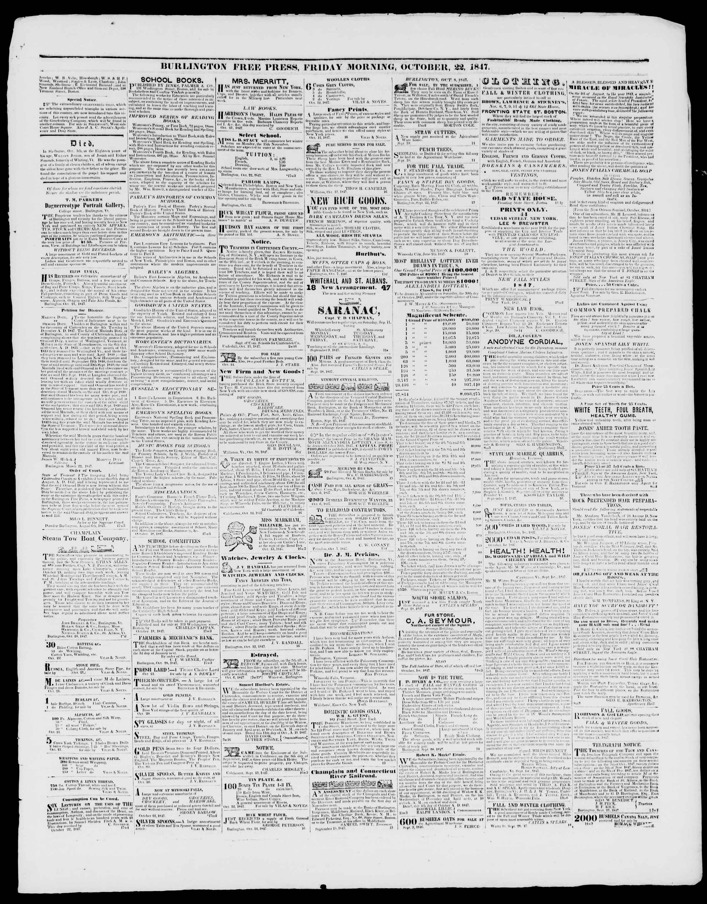 Newspaper of Burlington Free Press dated October 22, 1847 Page 3