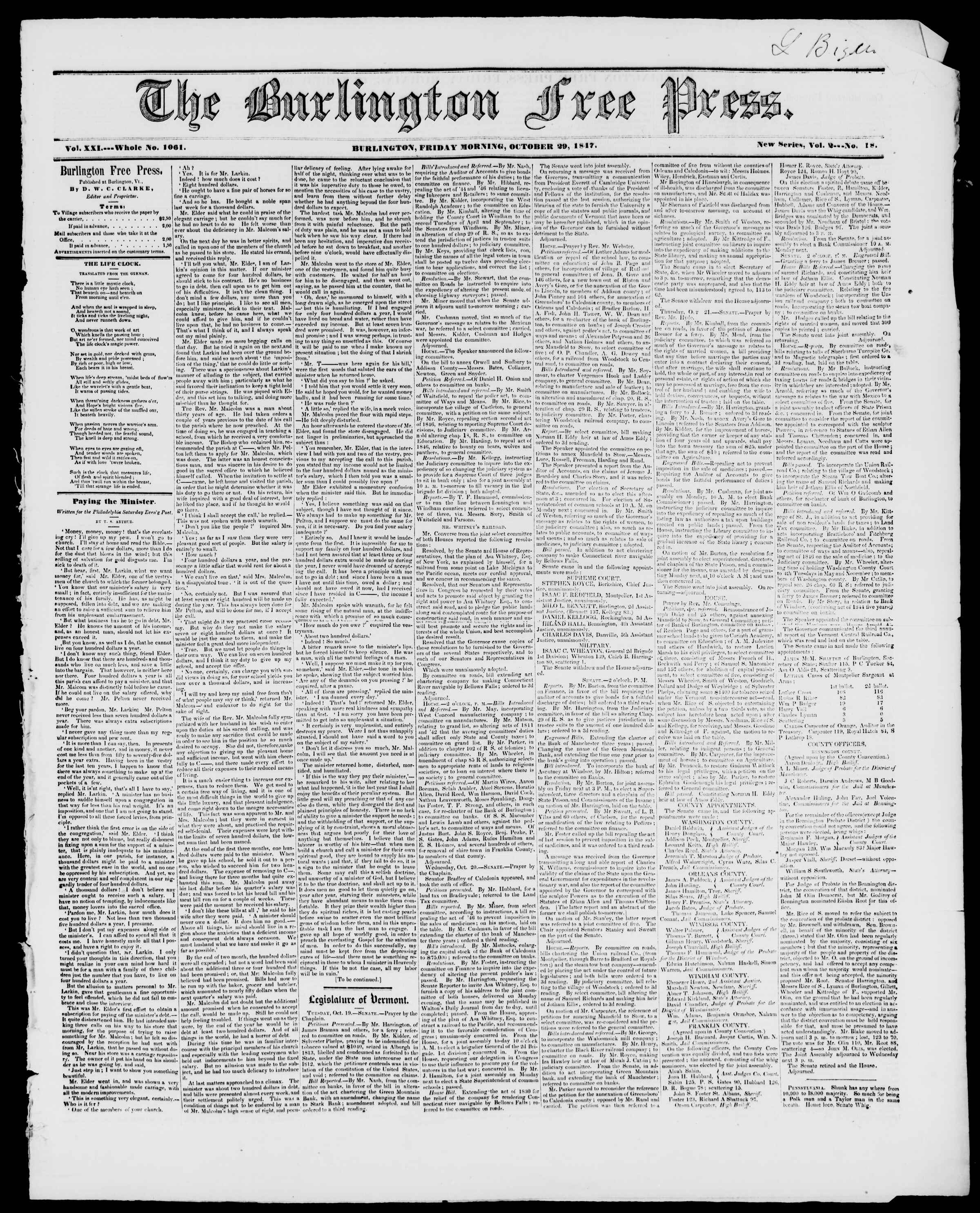 Newspaper of Burlington Free Press dated October 29, 1847 Page 1