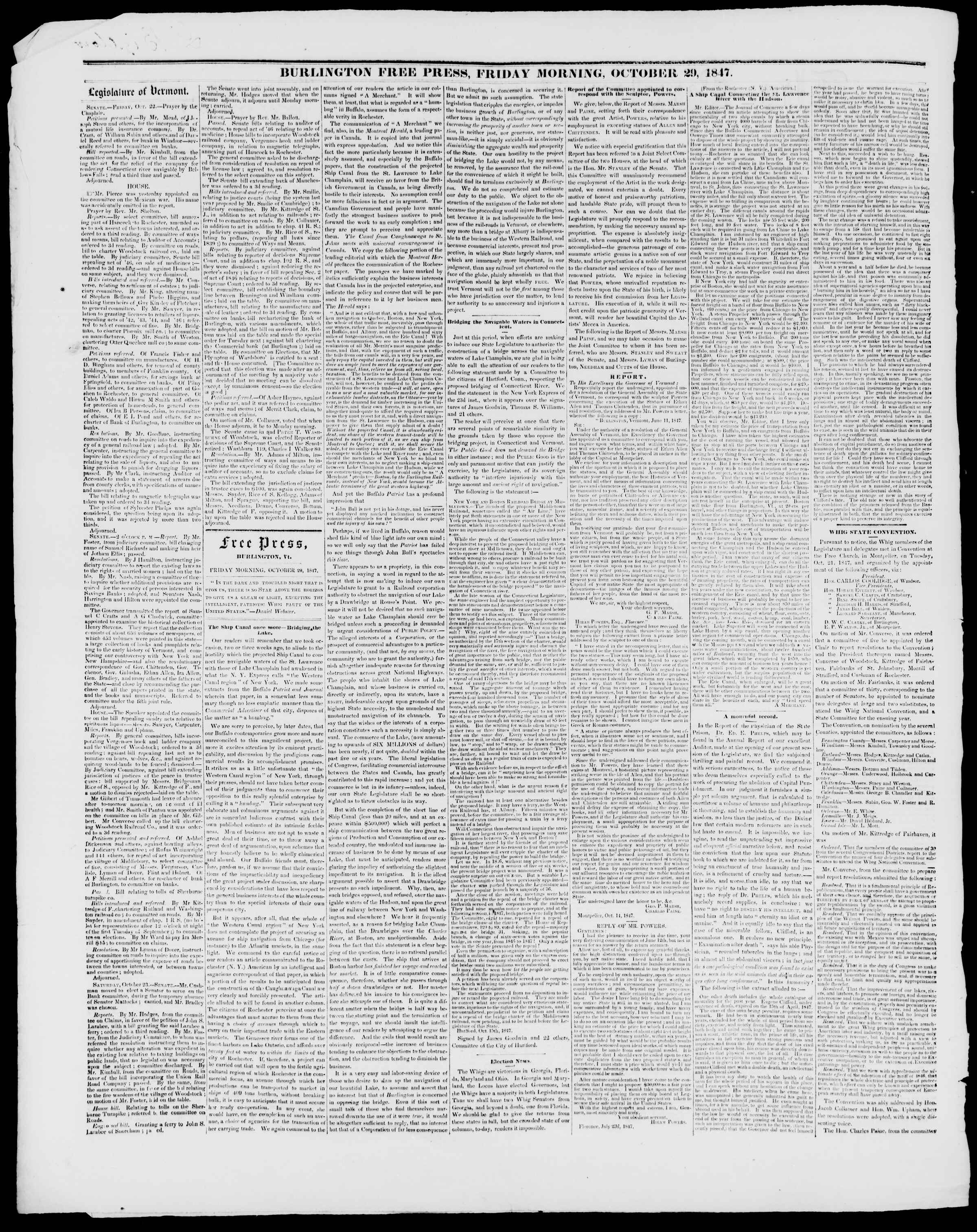 Newspaper of Burlington Free Press dated October 29, 1847 Page 2