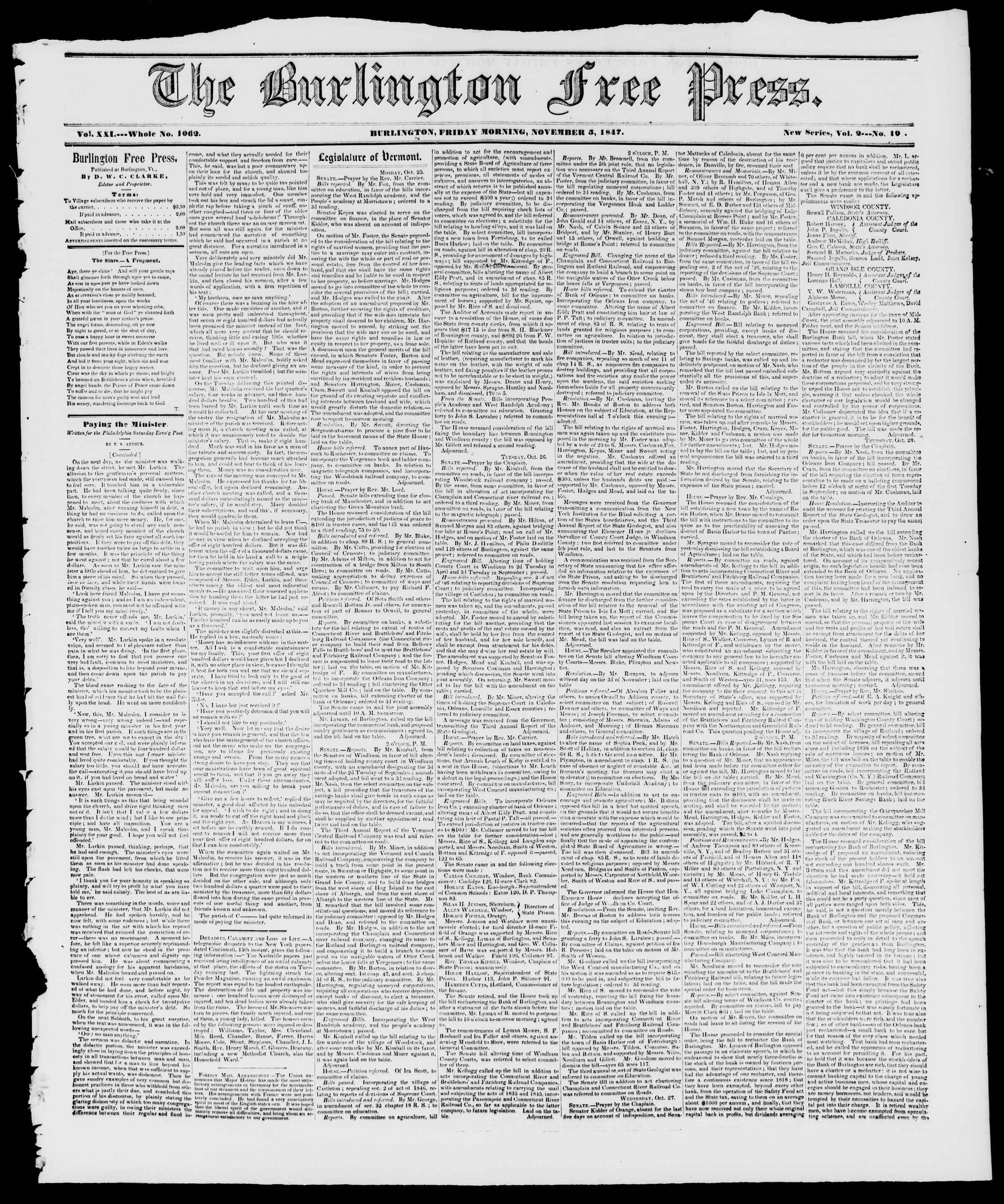 Newspaper of Burlington Free Press dated November 5, 1847 Page 1