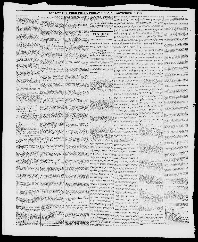 Newspaper of Burlington Free Press dated November 5, 1847 Page 2