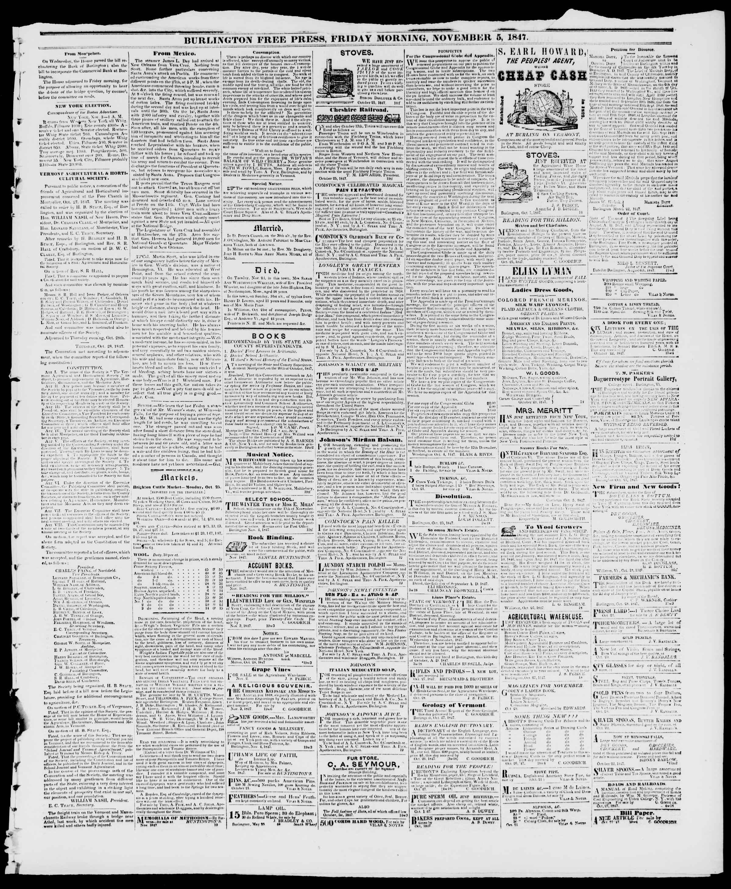 Newspaper of Burlington Free Press dated November 5, 1847 Page 3