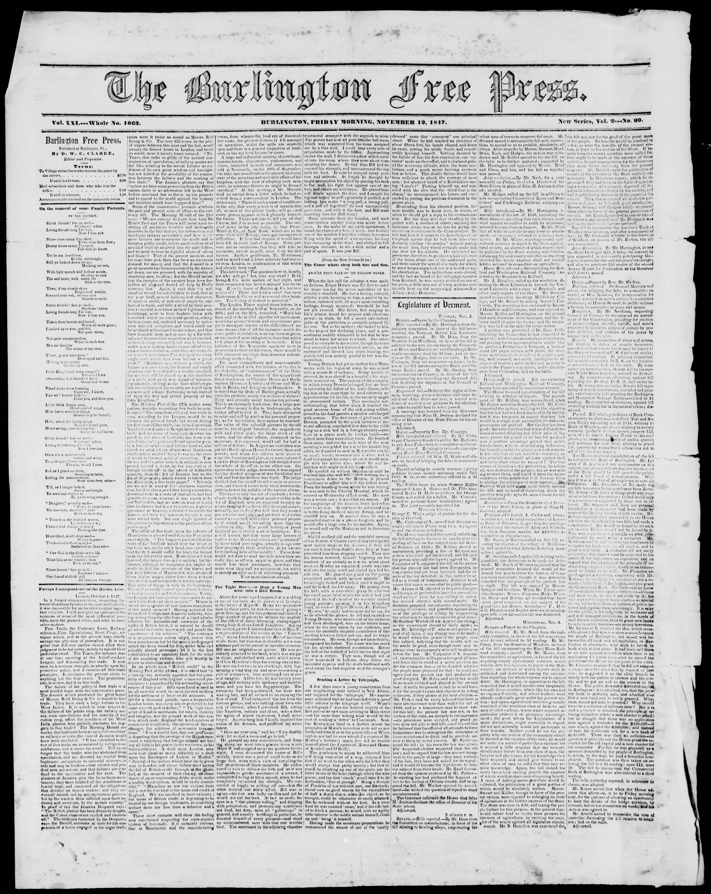 Newspaper of Burlington Free Press dated November 12, 1847 Page 1