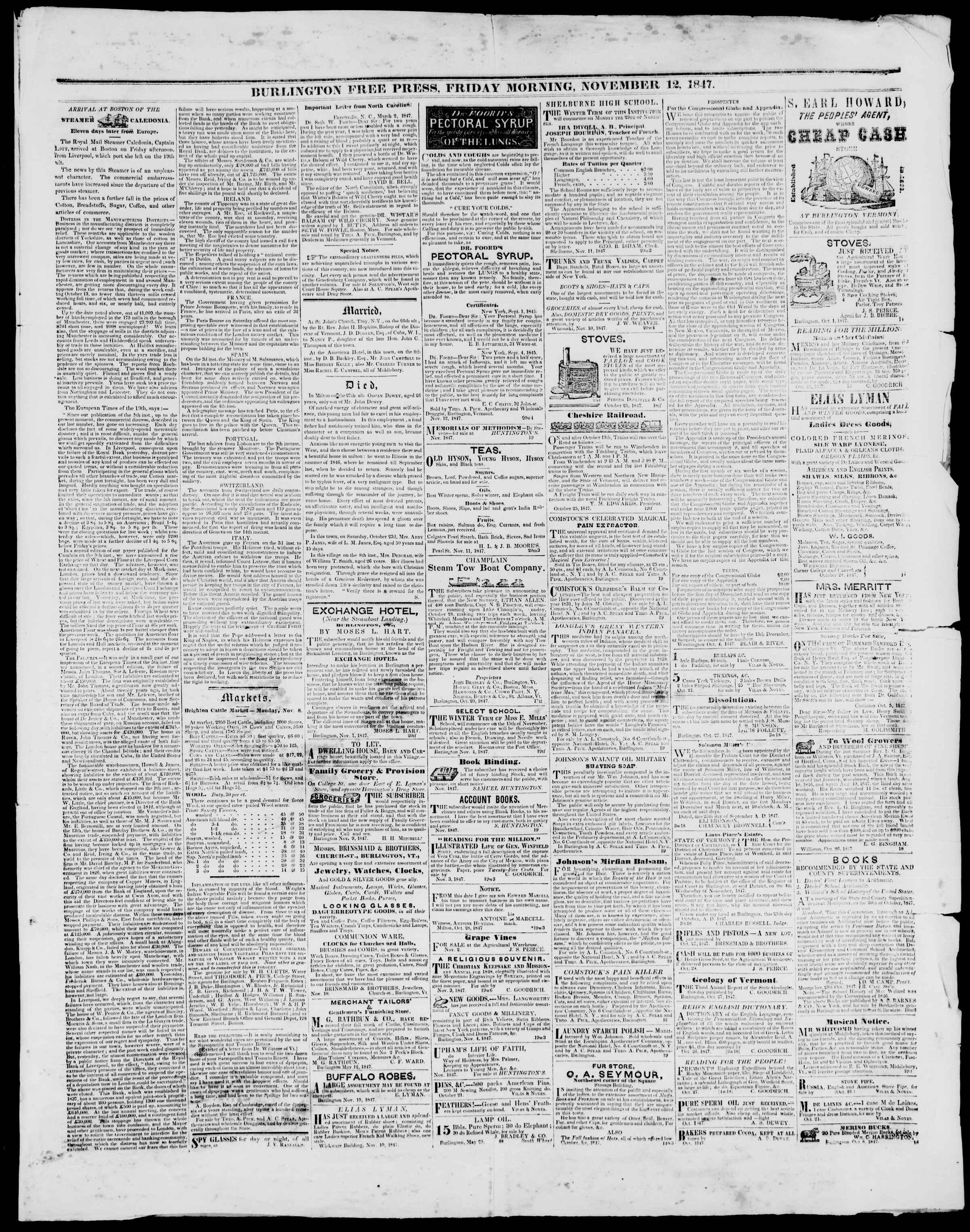 Newspaper of Burlington Free Press dated November 12, 1847 Page 3