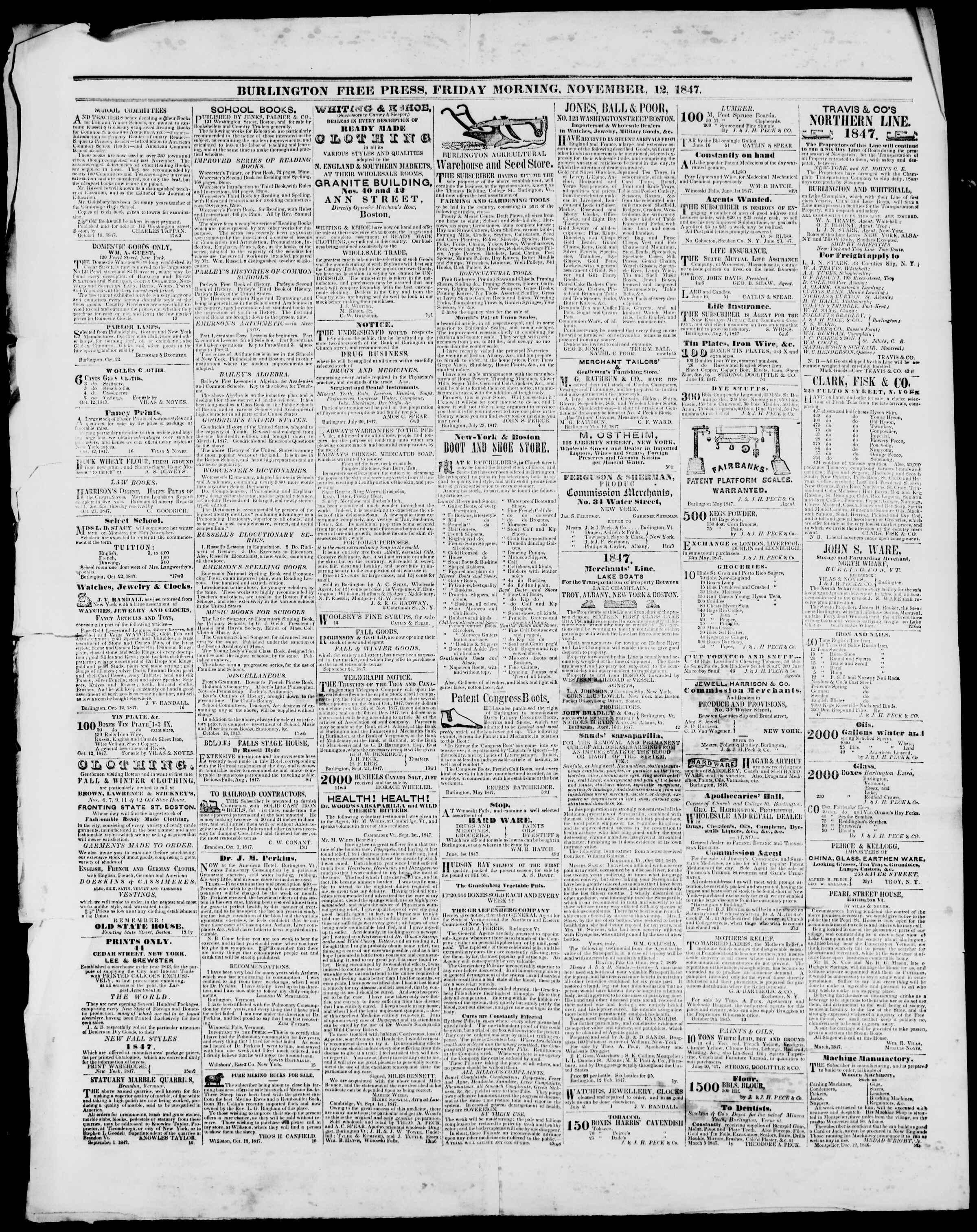 Newspaper of Burlington Free Press dated November 12, 1847 Page 4