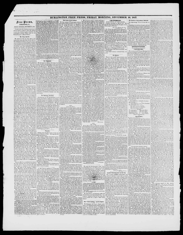 Newspaper of Burlington Free Press dated December 10, 1847 Page 2