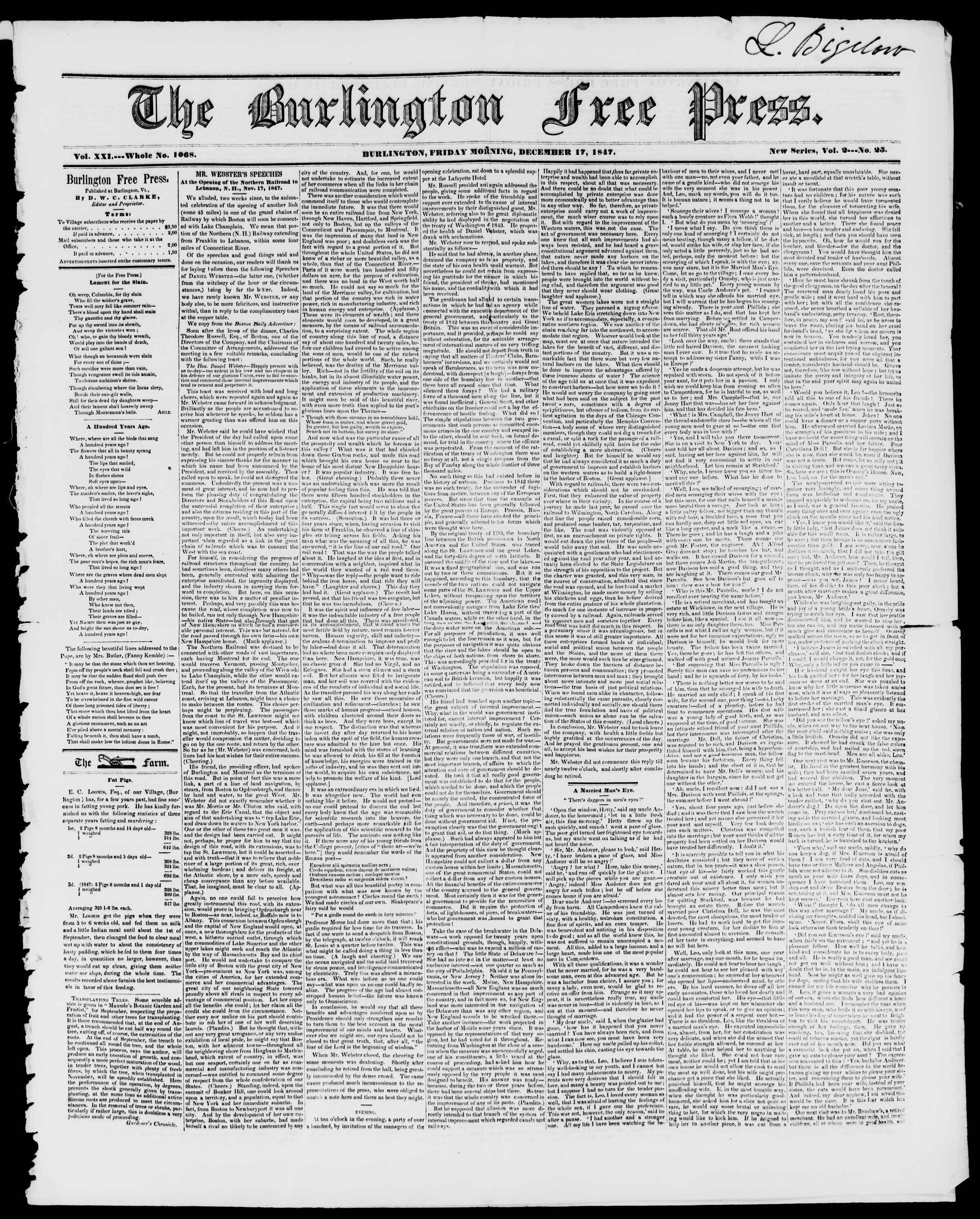 Newspaper of Burlington Free Press dated December 17, 1847 Page 1