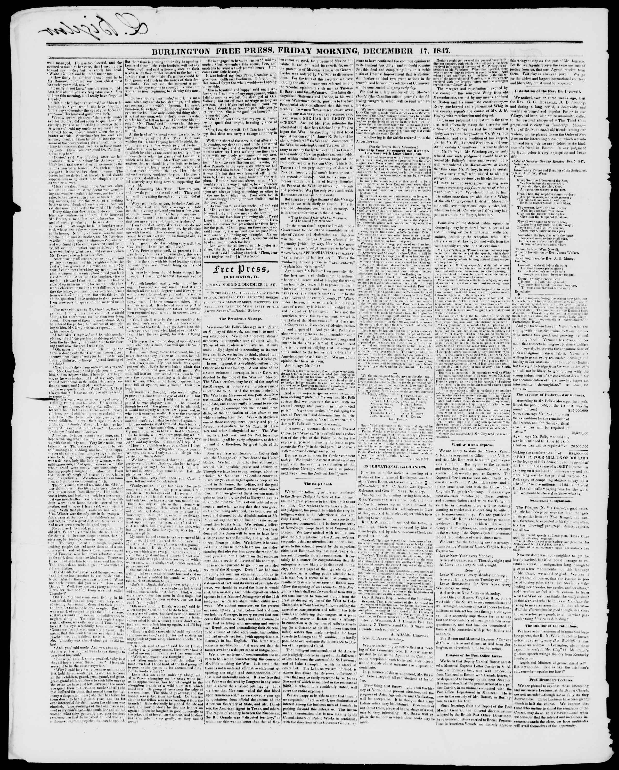 Newspaper of Burlington Free Press dated December 17, 1847 Page 2