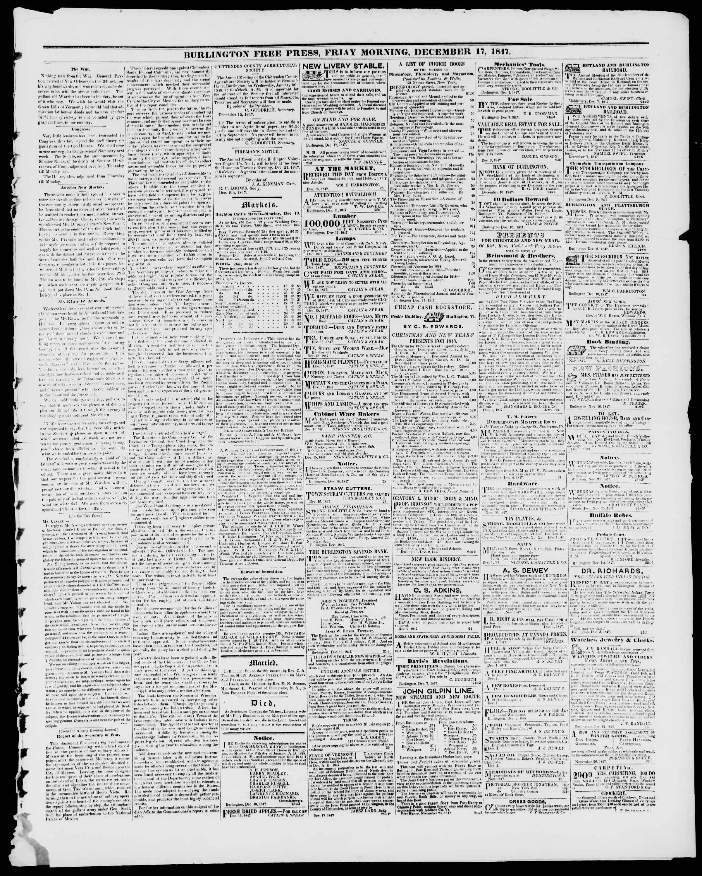 Newspaper of Burlington Free Press dated December 17, 1847 Page 3