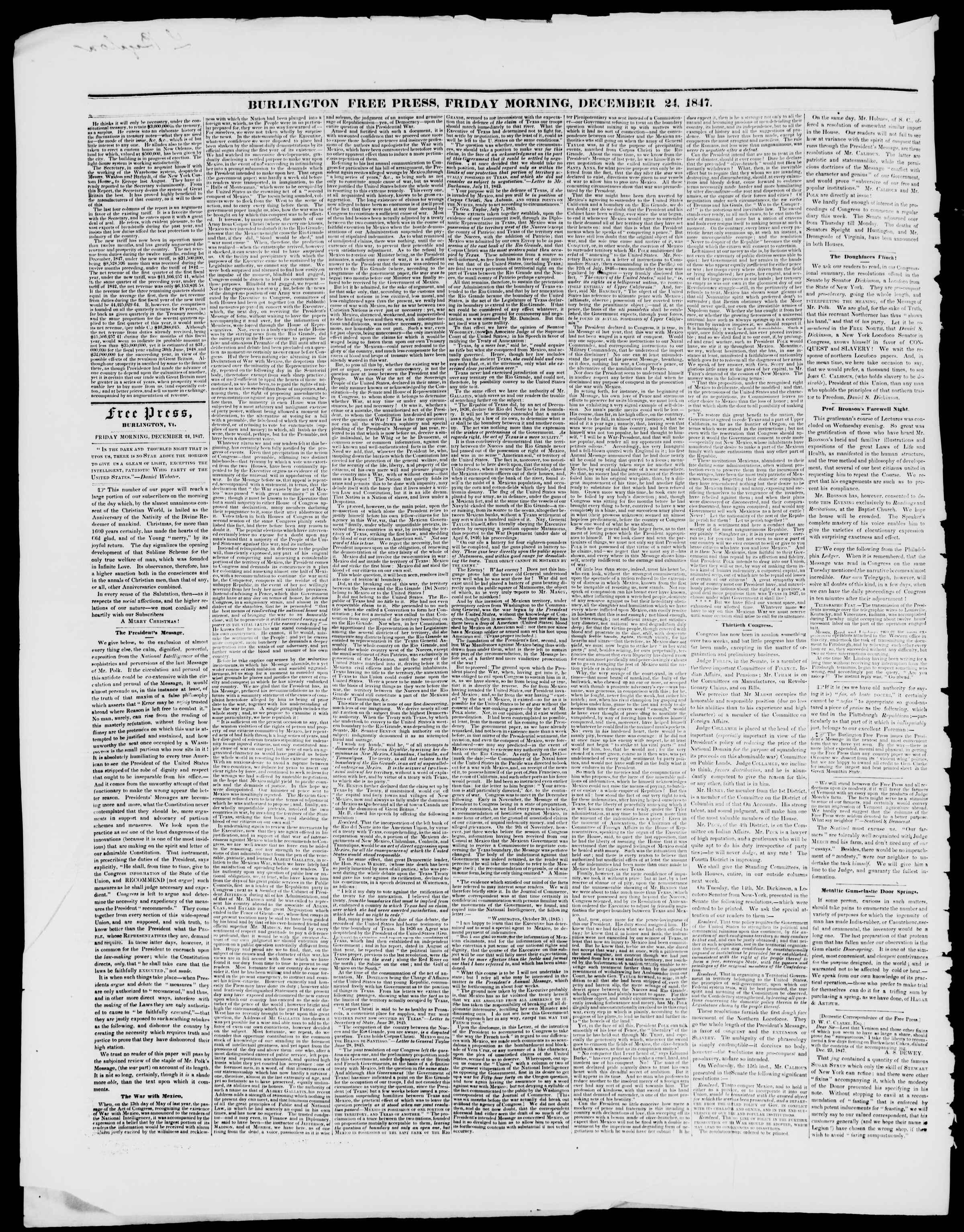 Newspaper of Burlington Free Press dated December 24, 1847 Page 2