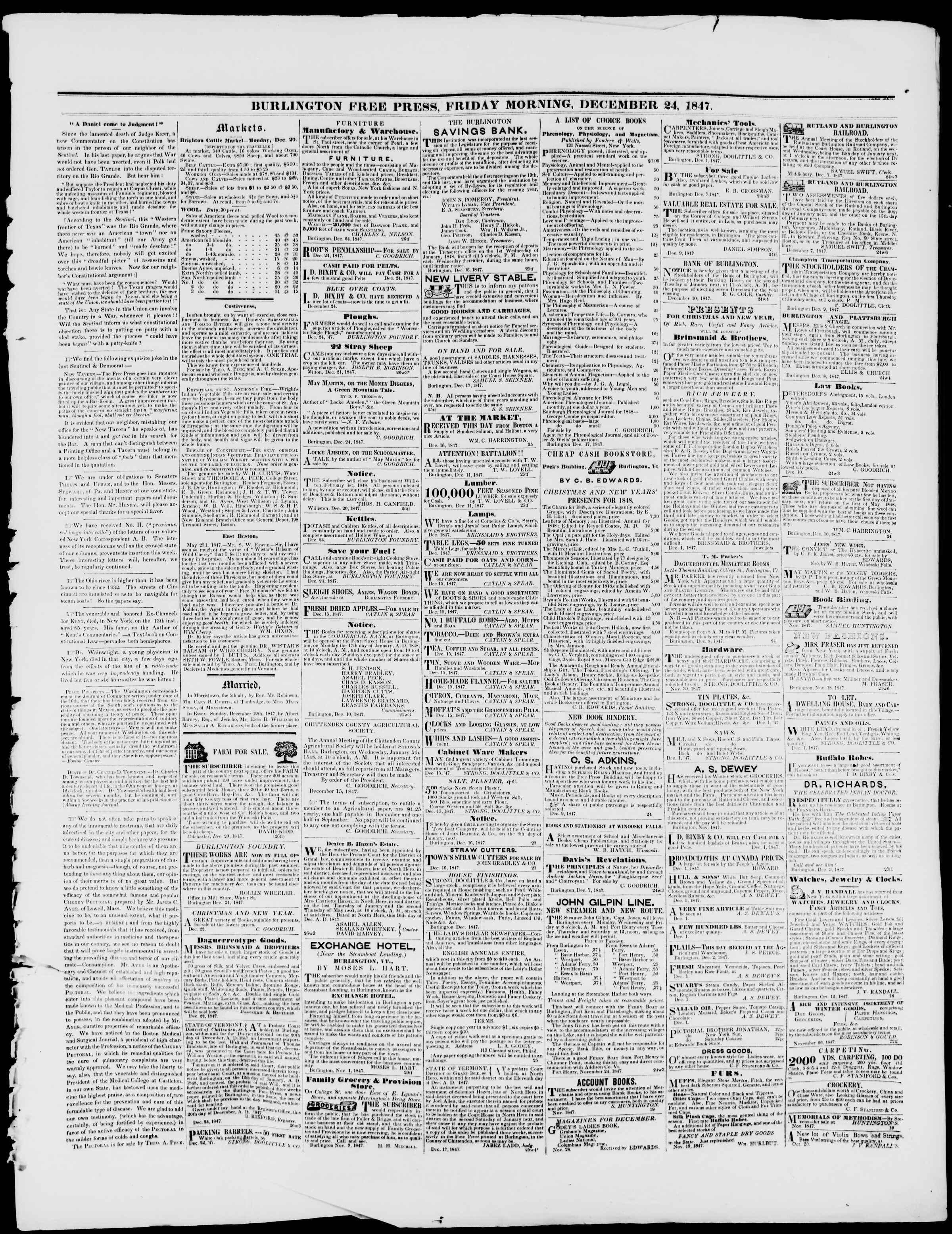 Newspaper of Burlington Free Press dated December 24, 1847 Page 3
