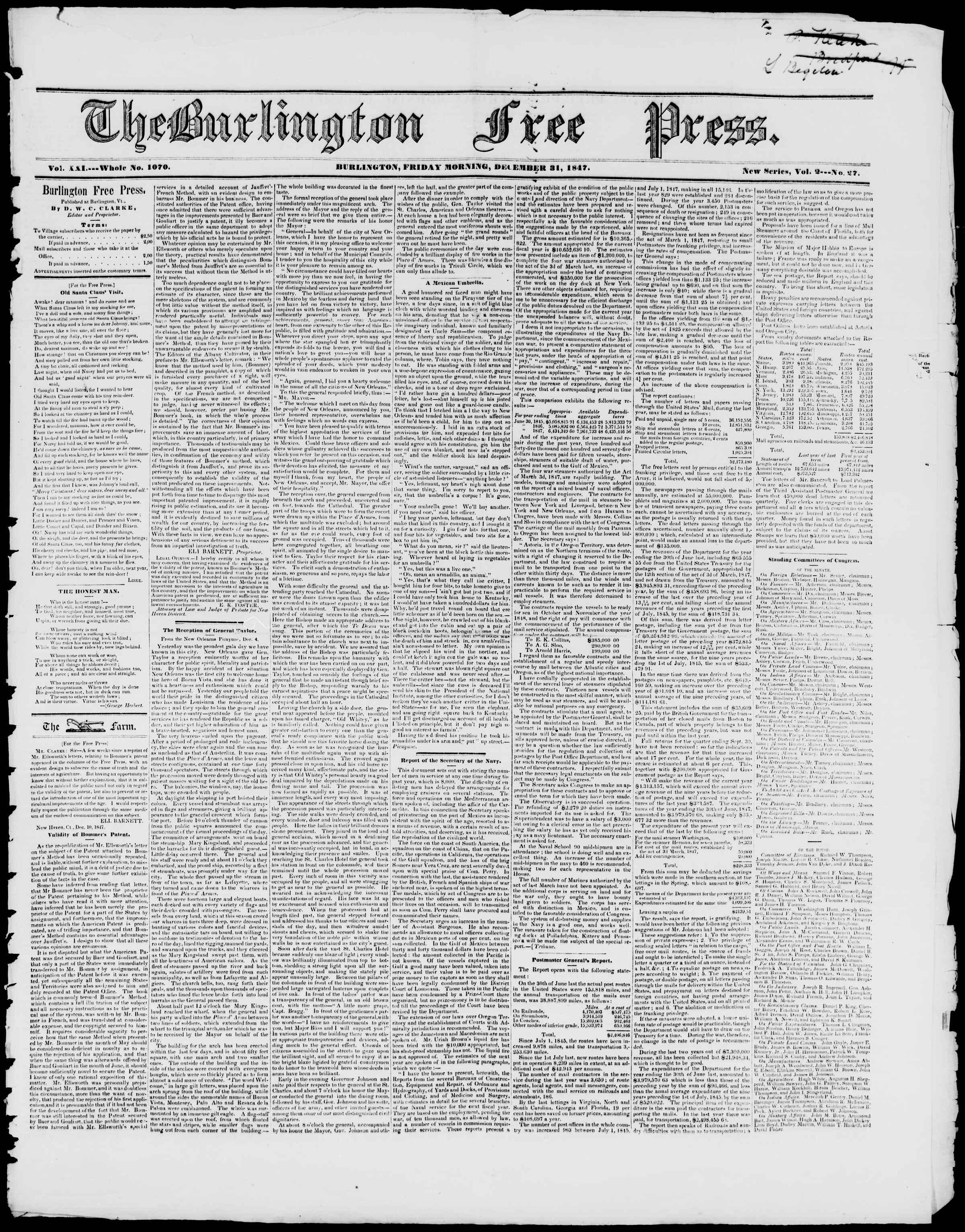 Newspaper of Burlington Free Press dated December 31, 1847 Page 1
