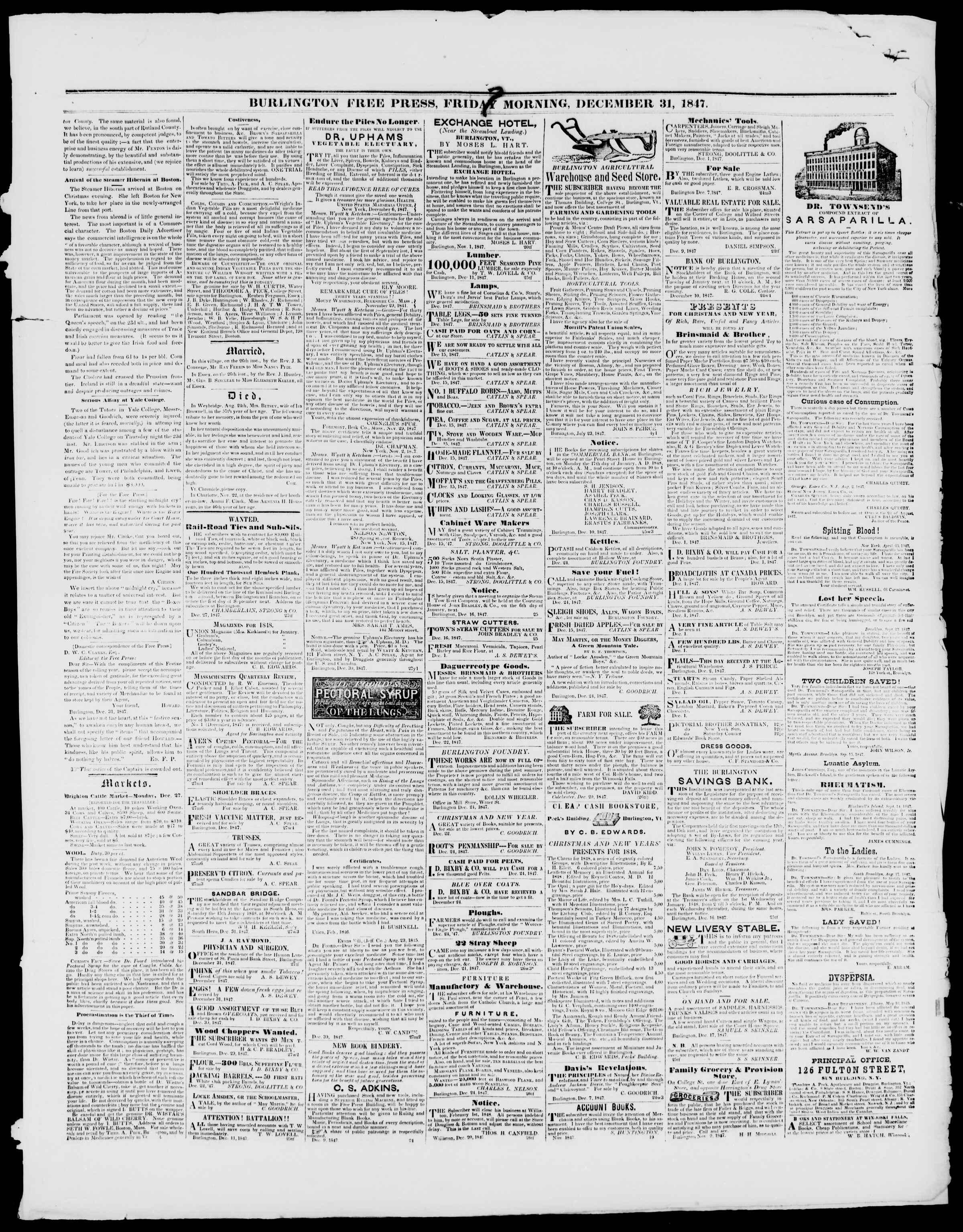 Newspaper of Burlington Free Press dated December 31, 1847 Page 3