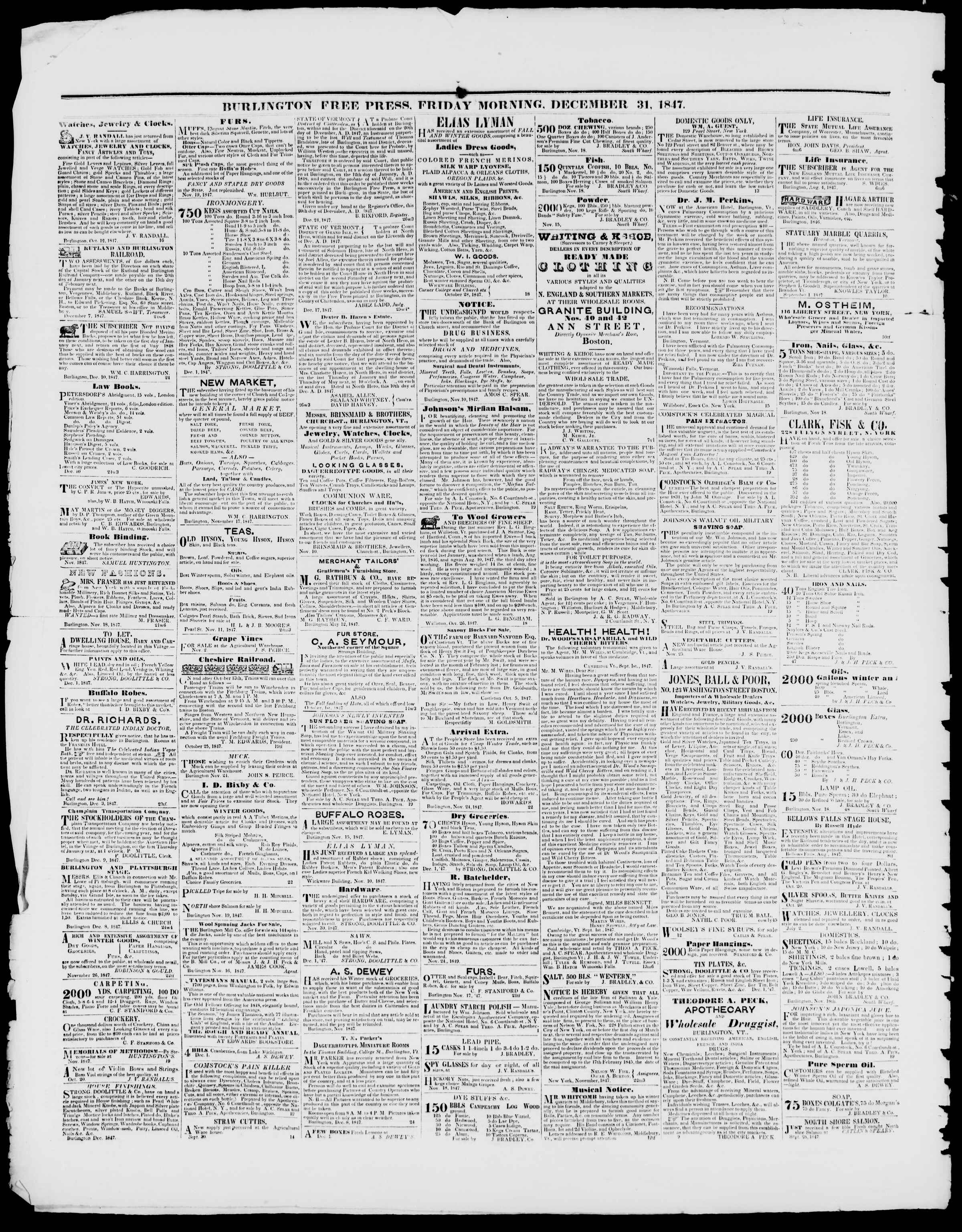 Newspaper of Burlington Free Press dated December 31, 1847 Page 4