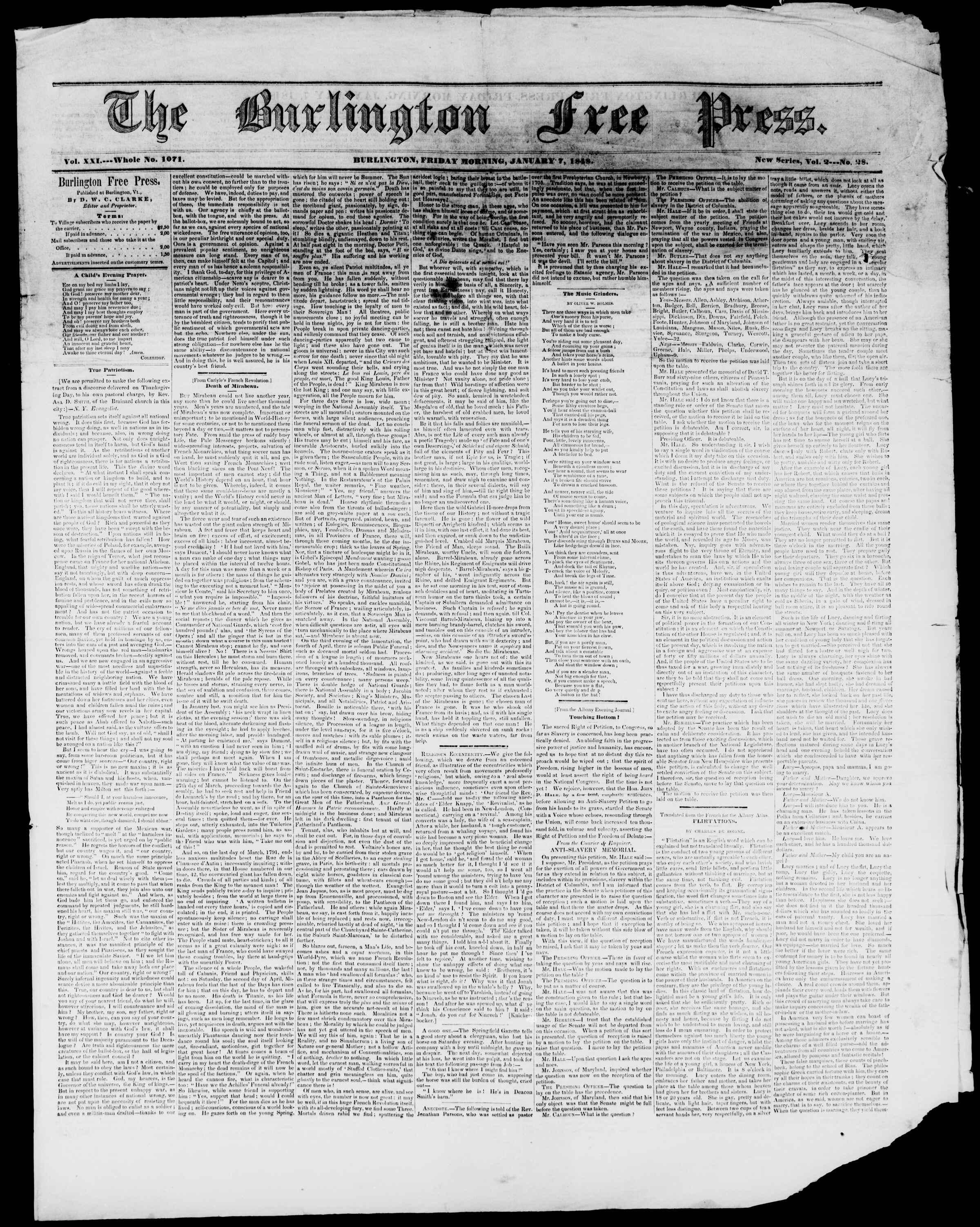 Newspaper of Burlington Free Press dated January 7, 1848 Page 1