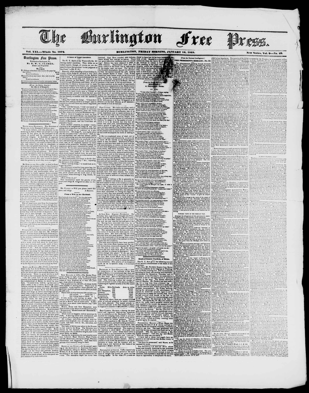 Newspaper of Burlington Free Press dated January 14, 1848 Page 1