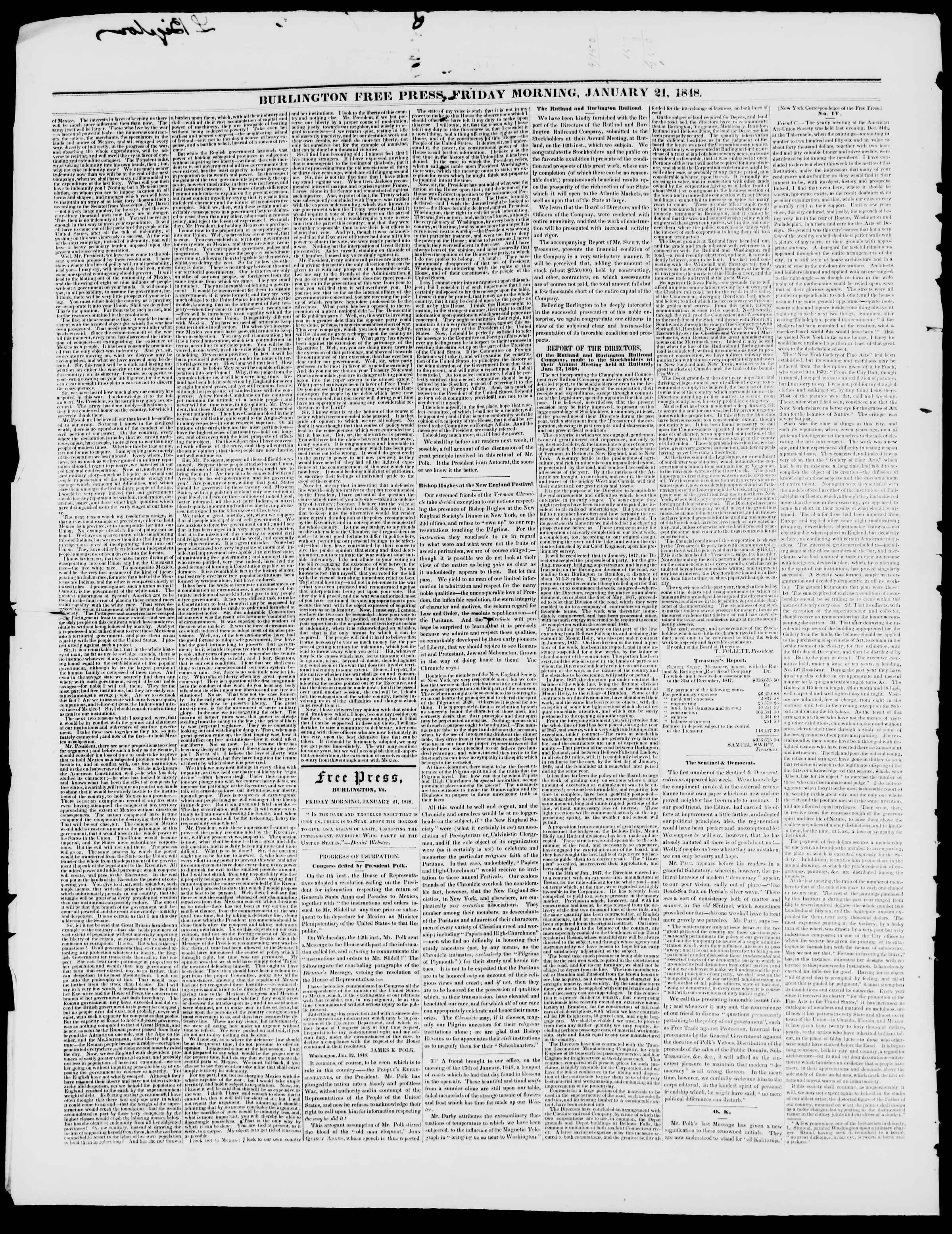 Newspaper of Burlington Free Press dated January 21, 1848 Page 2
