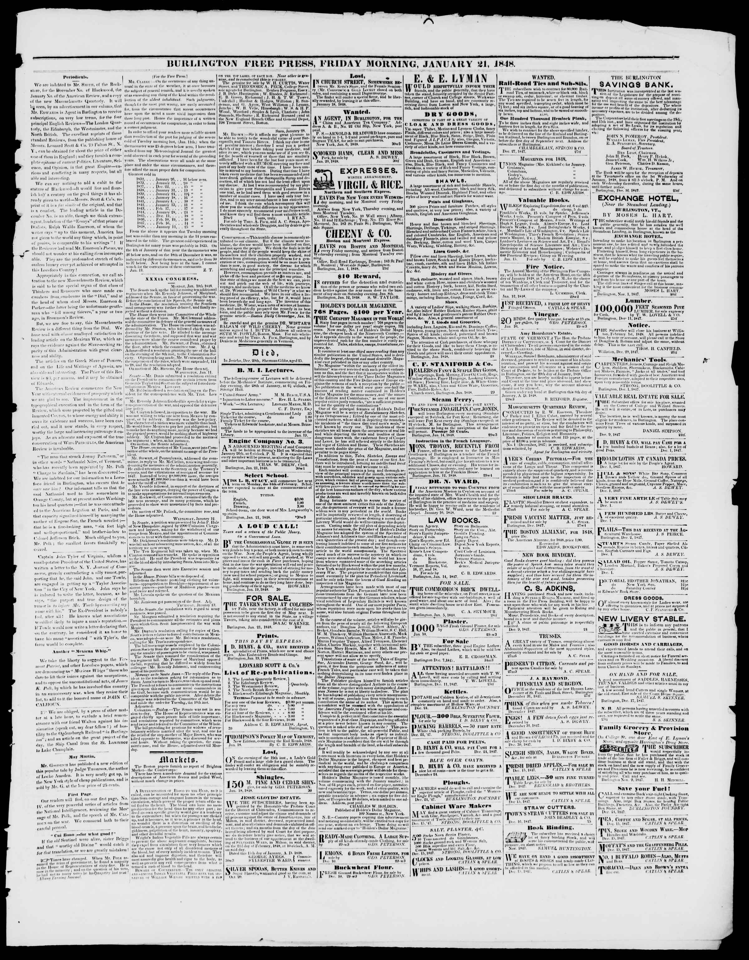 Newspaper of Burlington Free Press dated January 21, 1848 Page 3