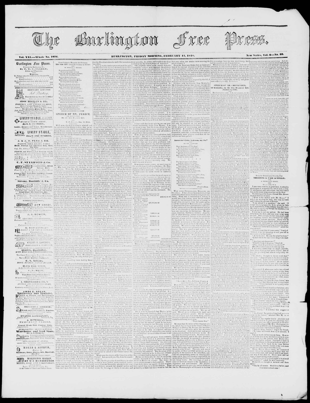 Newspaper of Burlington Free Press dated February 11, 1848 Page 1