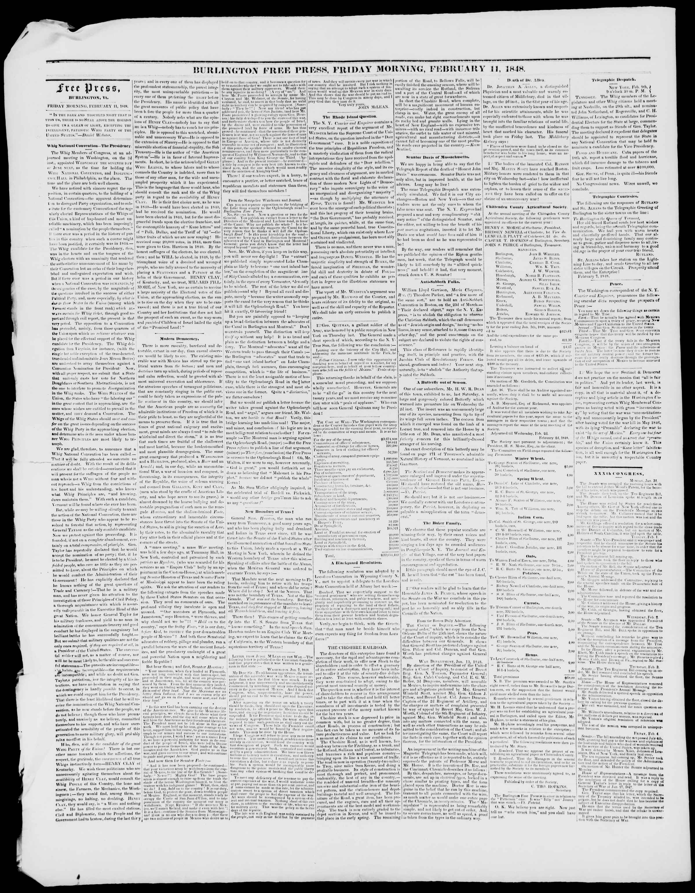 Newspaper of Burlington Free Press dated February 11, 1848 Page 2