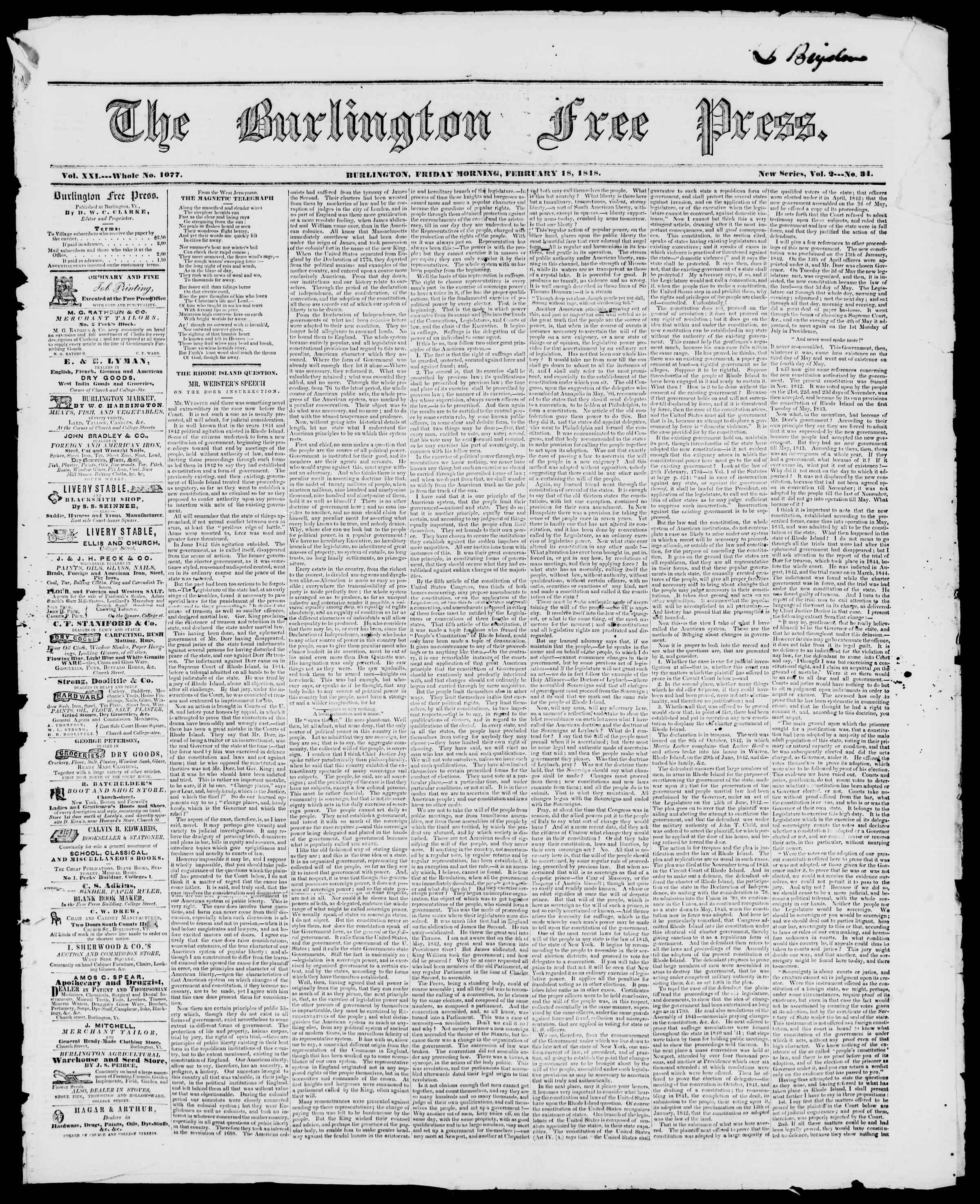 Newspaper of Burlington Free Press dated February 18, 1848 Page 1