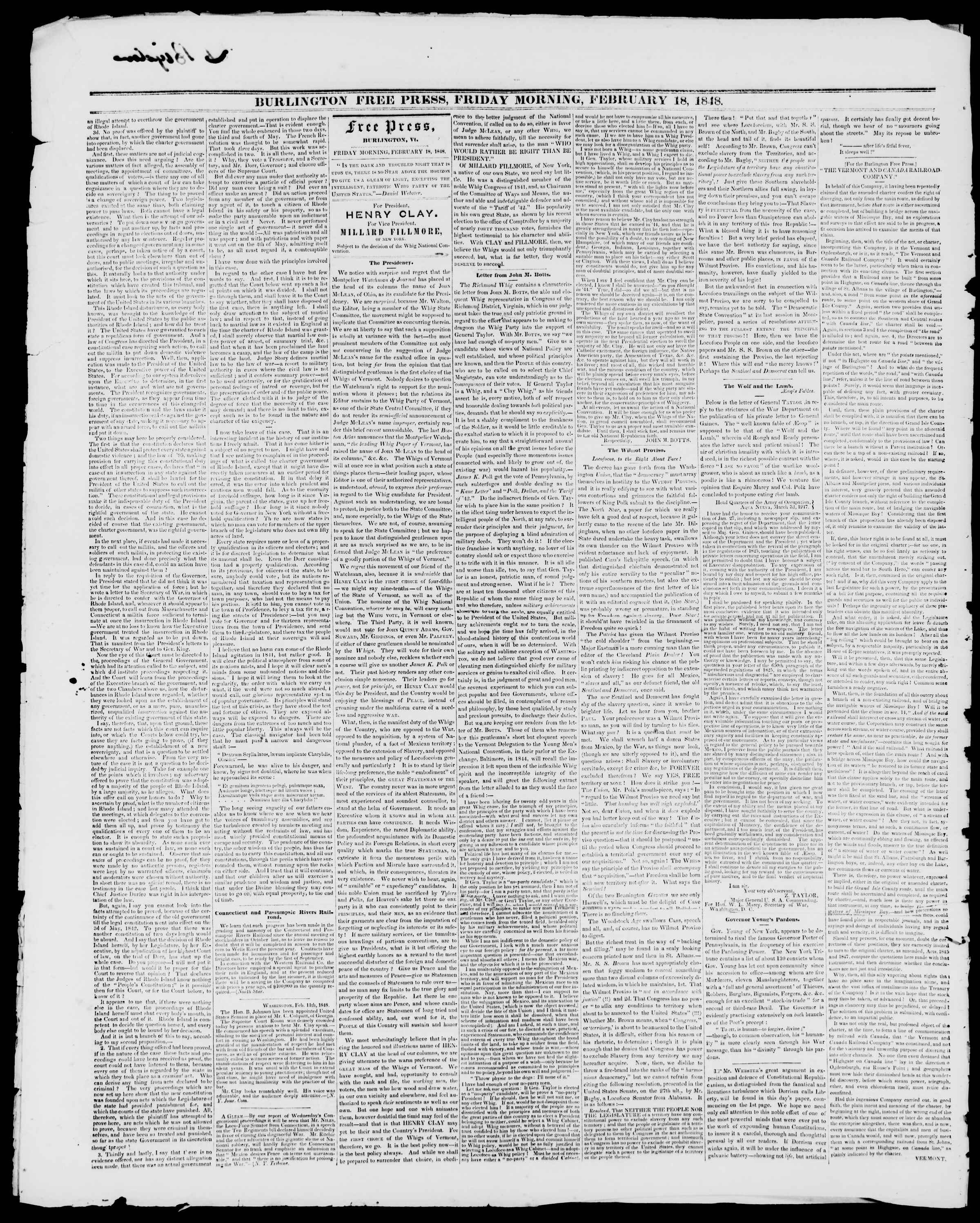 Newspaper of Burlington Free Press dated 18 Şubat 1848 Page 2