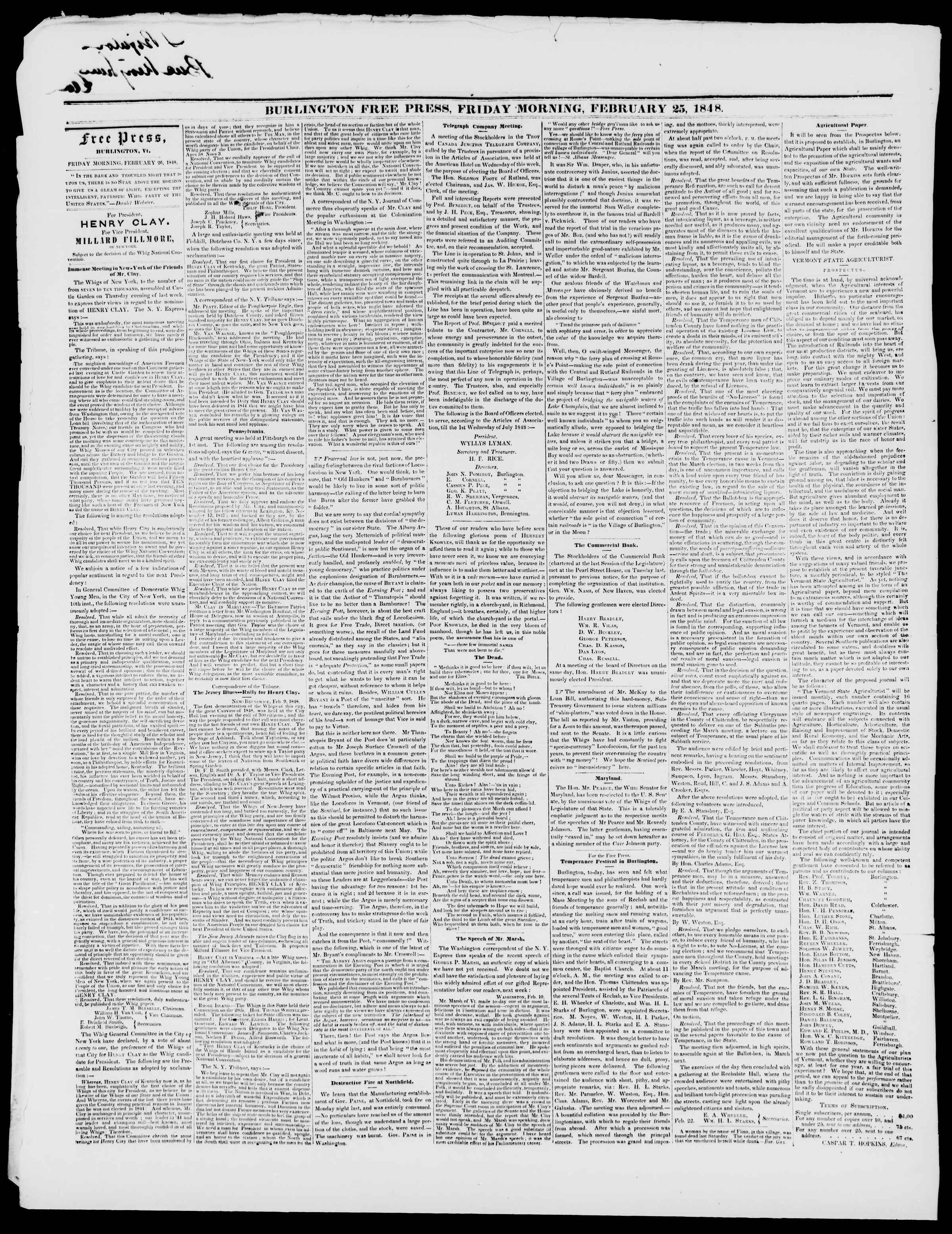 Newspaper of Burlington Free Press dated February 25, 1848 Page 2