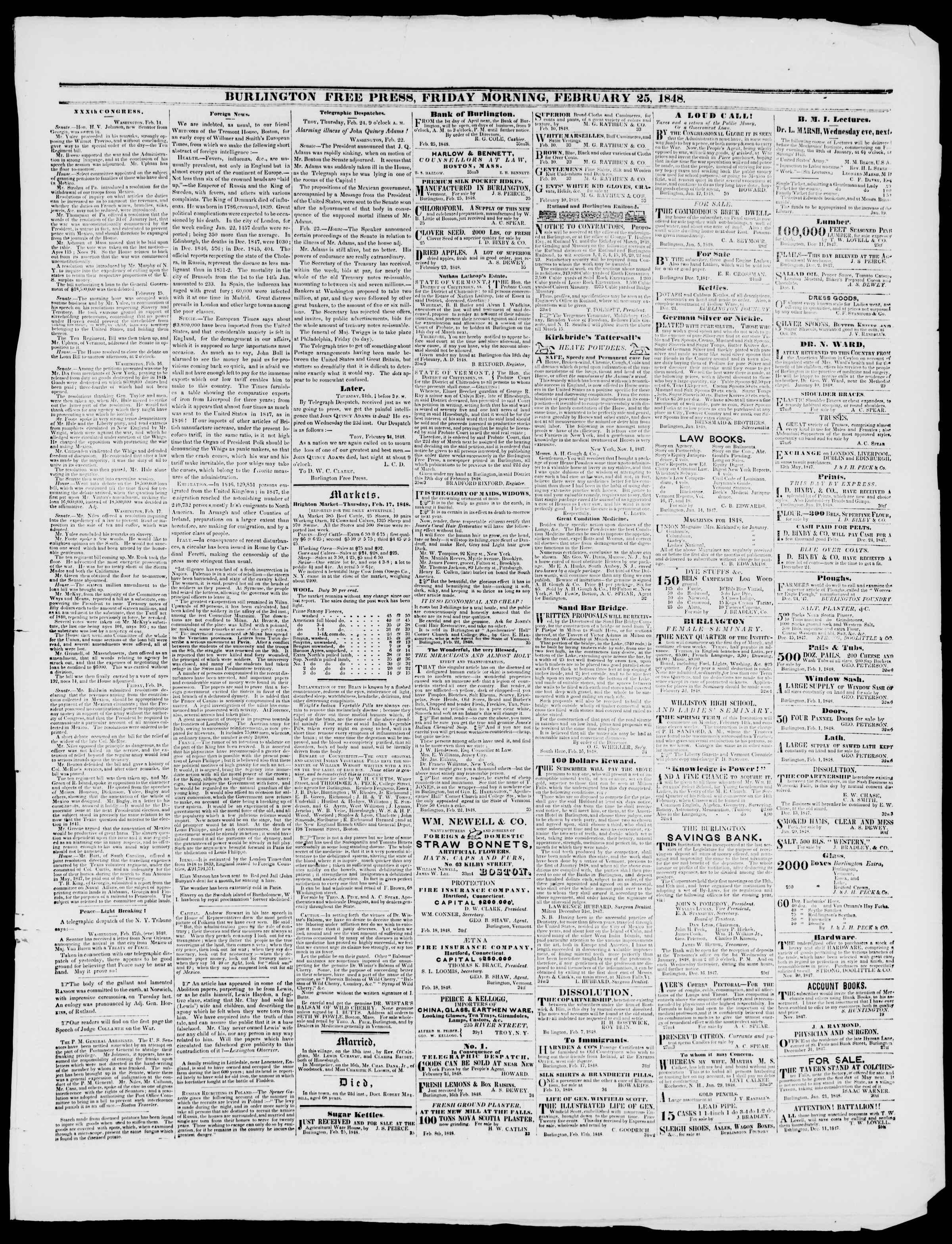 Newspaper of Burlington Free Press dated February 25, 1848 Page 3
